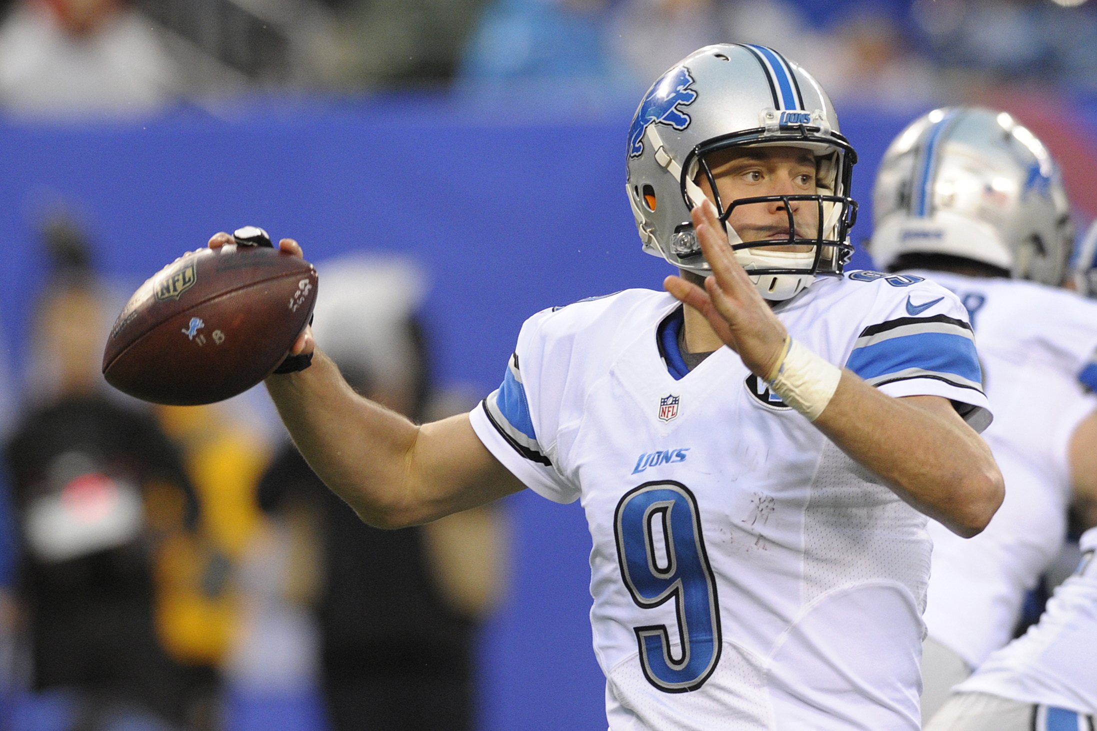 FILE - In this Sunday, Dec. 18, 2016 filephoto, Detroit Lions quarterback Matthew Stafford (9) throws a pass during the second half of an NFL football game against the New York Giants in East Rutherford, N.J. The Lions play the Dallas Cowboys on Monday, D