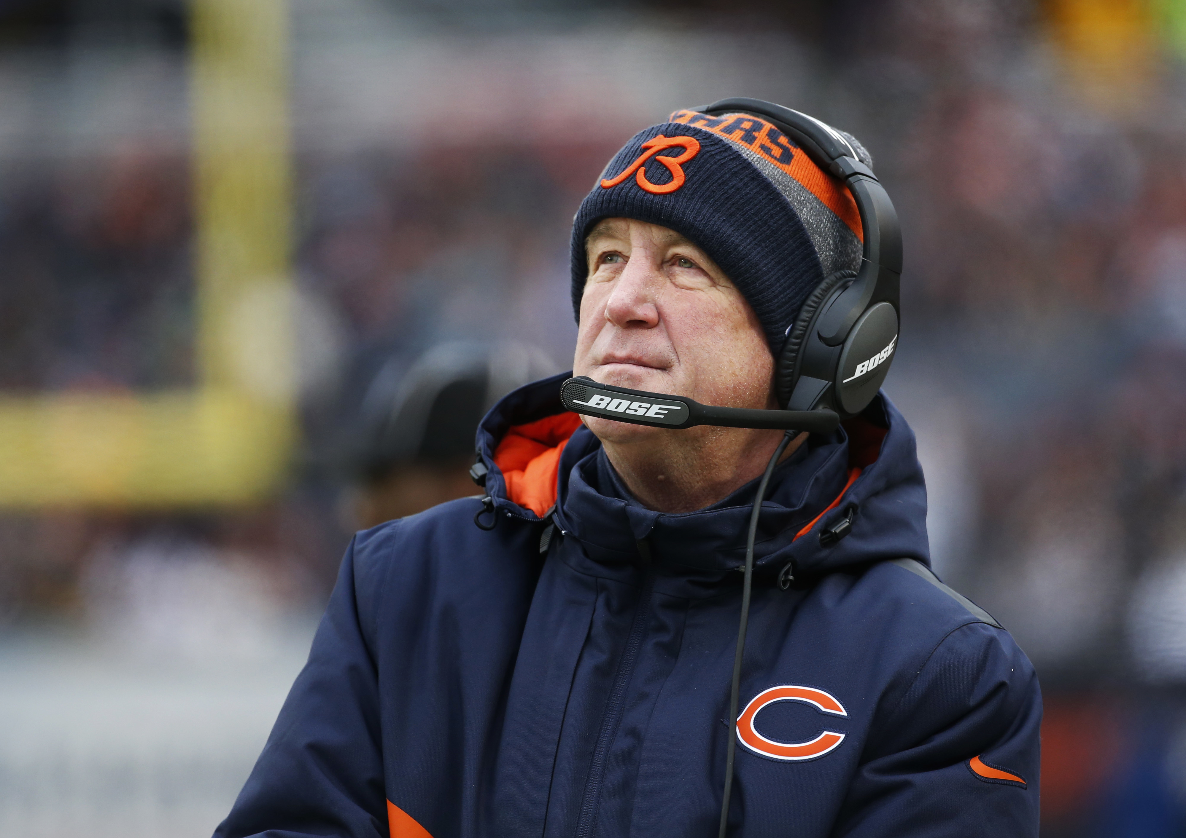 Chicago Bears head coach John Fox watches against the Washington Redskins during the first half of an NFL football game, Saturday, Dec. 24, 2016, in Chicago. (AP Photo/Nam Y. Huh)
