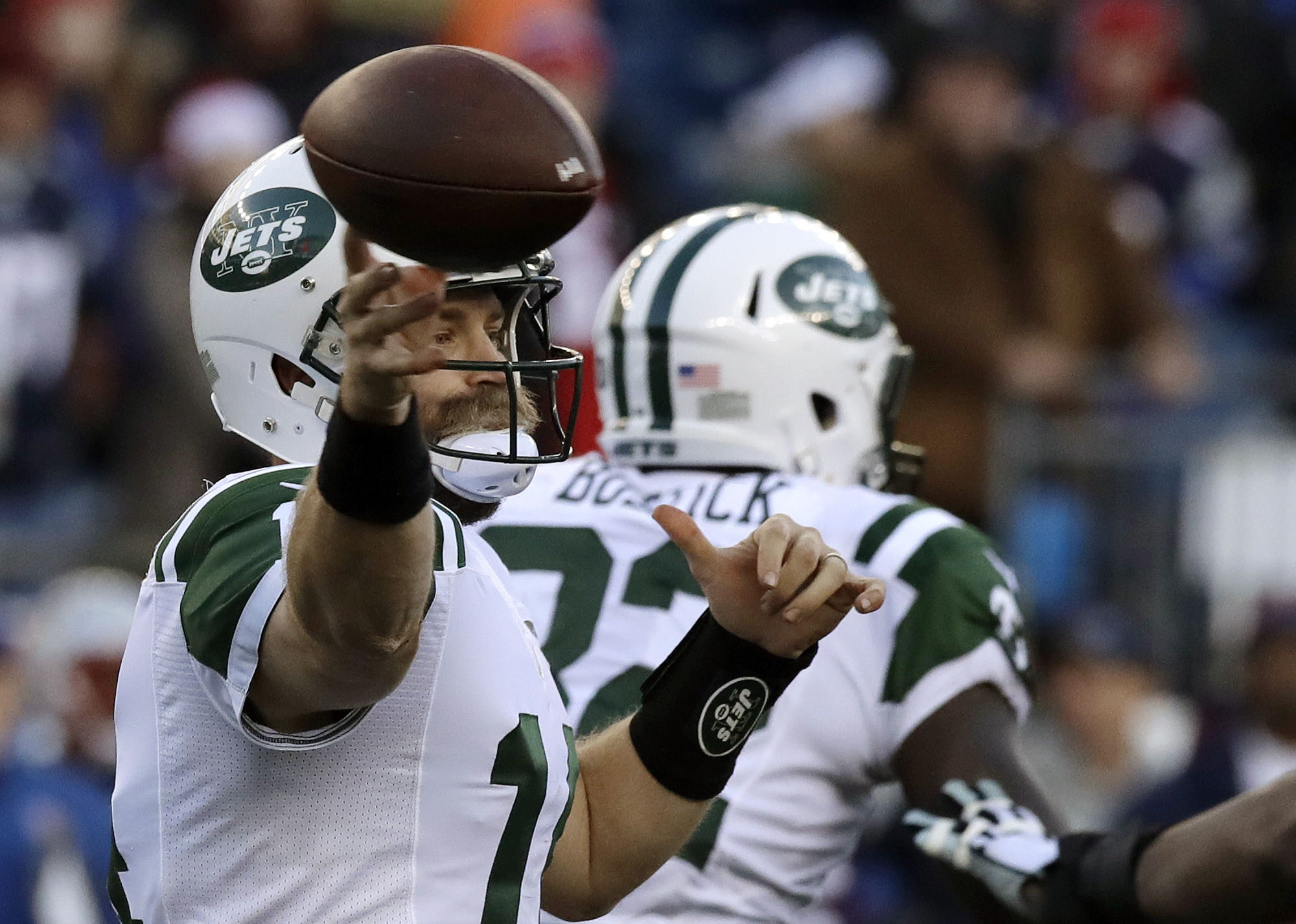 New York Jets quarterback Ryan Fitzpatrick passes against the New England Patriots during the second half of an NFL football game, Saturday, Dec. 24, 2016, in Foxborough, Mass. (AP Photo/Charles Krupa)