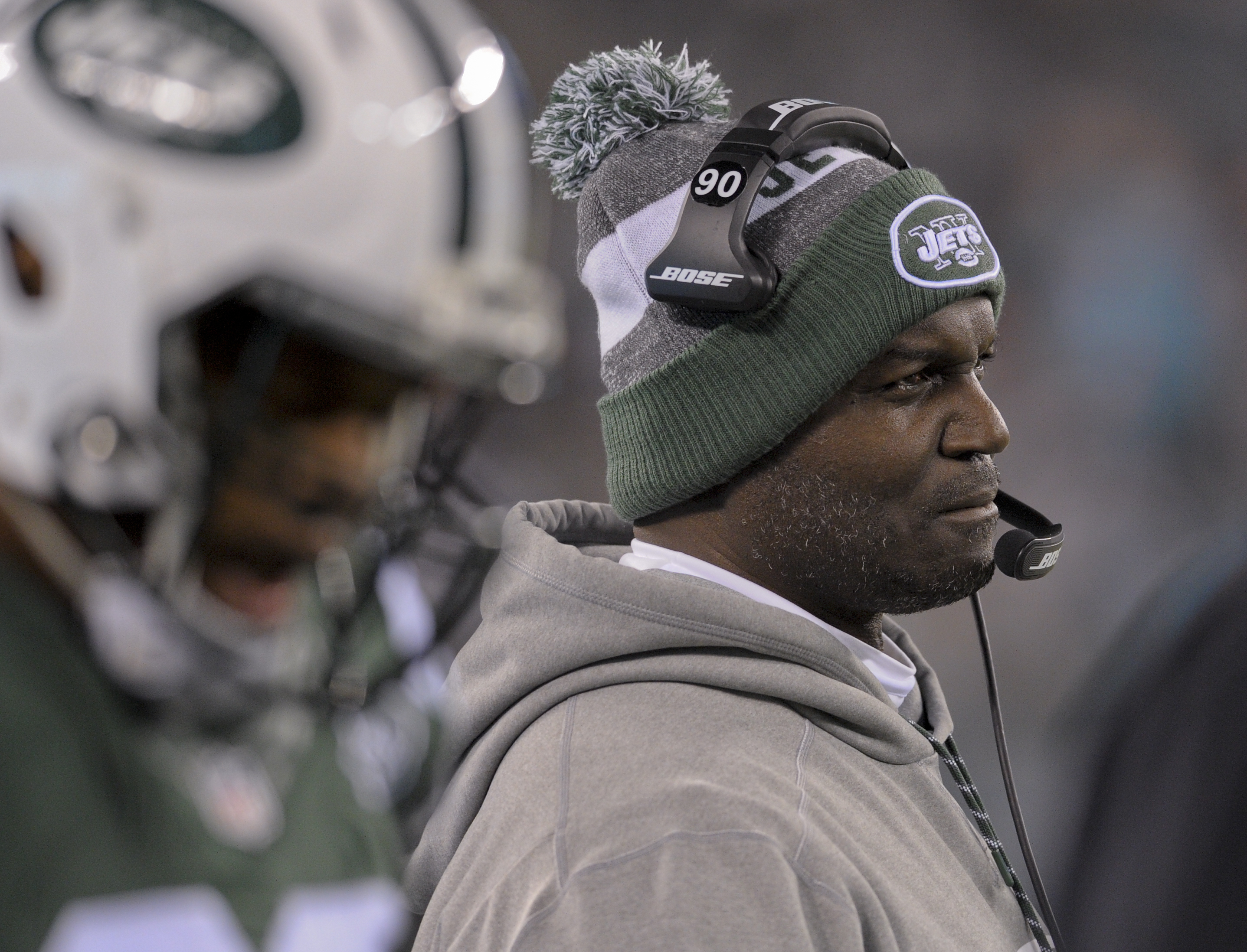 FILE - In this Saturday, Dec. 17, 2016, file photo, New York Jets head coach Todd Bowles watches from the sidelines during the fourth quarter of an NFL football game against the Miami Dolphins in East Rutherford, N.J. Bowles is in just second season as co
