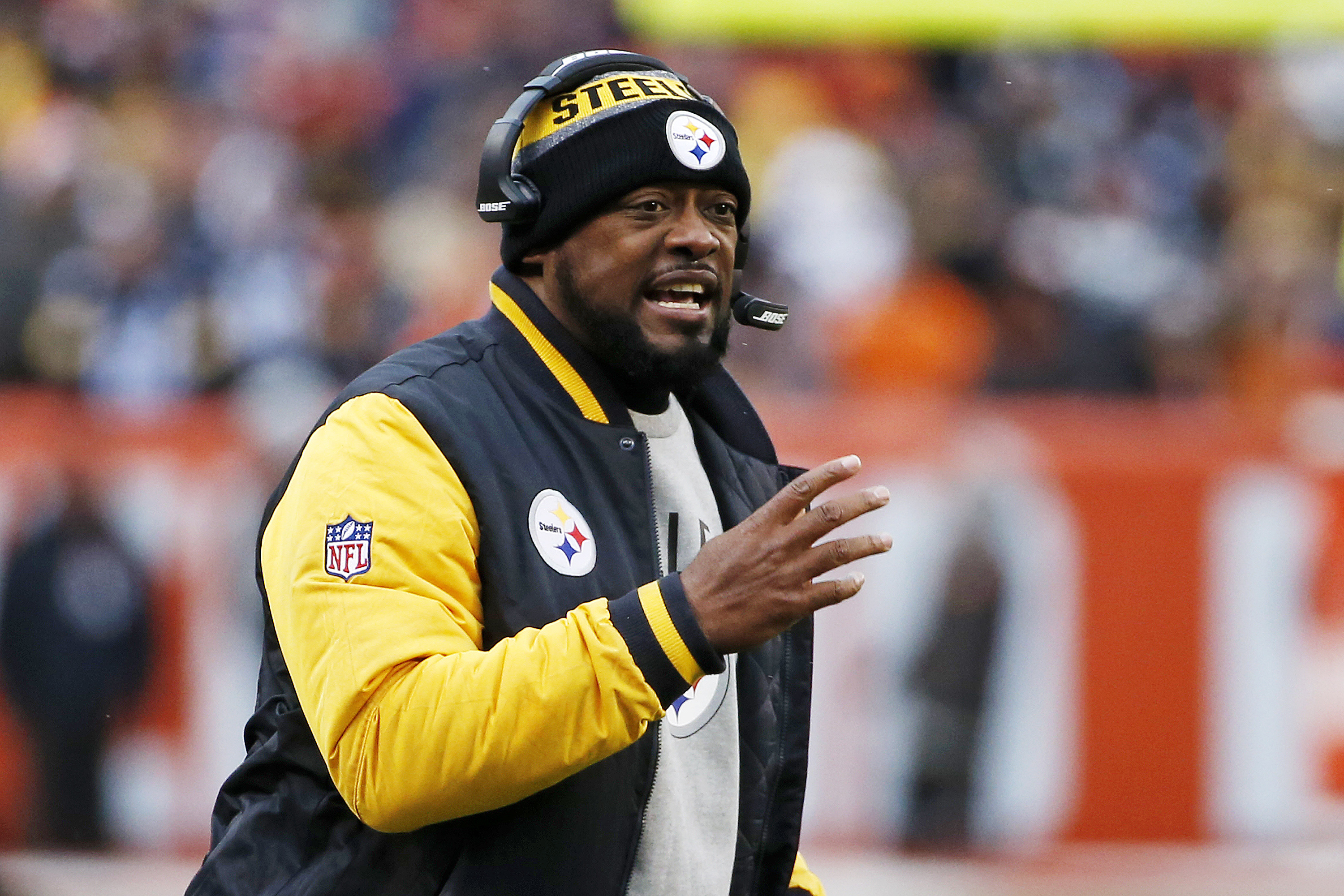 FILE - In a Sunday, Nov. 20, 2016 file photo, Pittsburgh Steelers head coach Mike Tomlin yells at an official during the first half of an NFL football game against the Cleveland Browns in Cleveland. The Steelers (10-5) have already locked down the AFC Nor