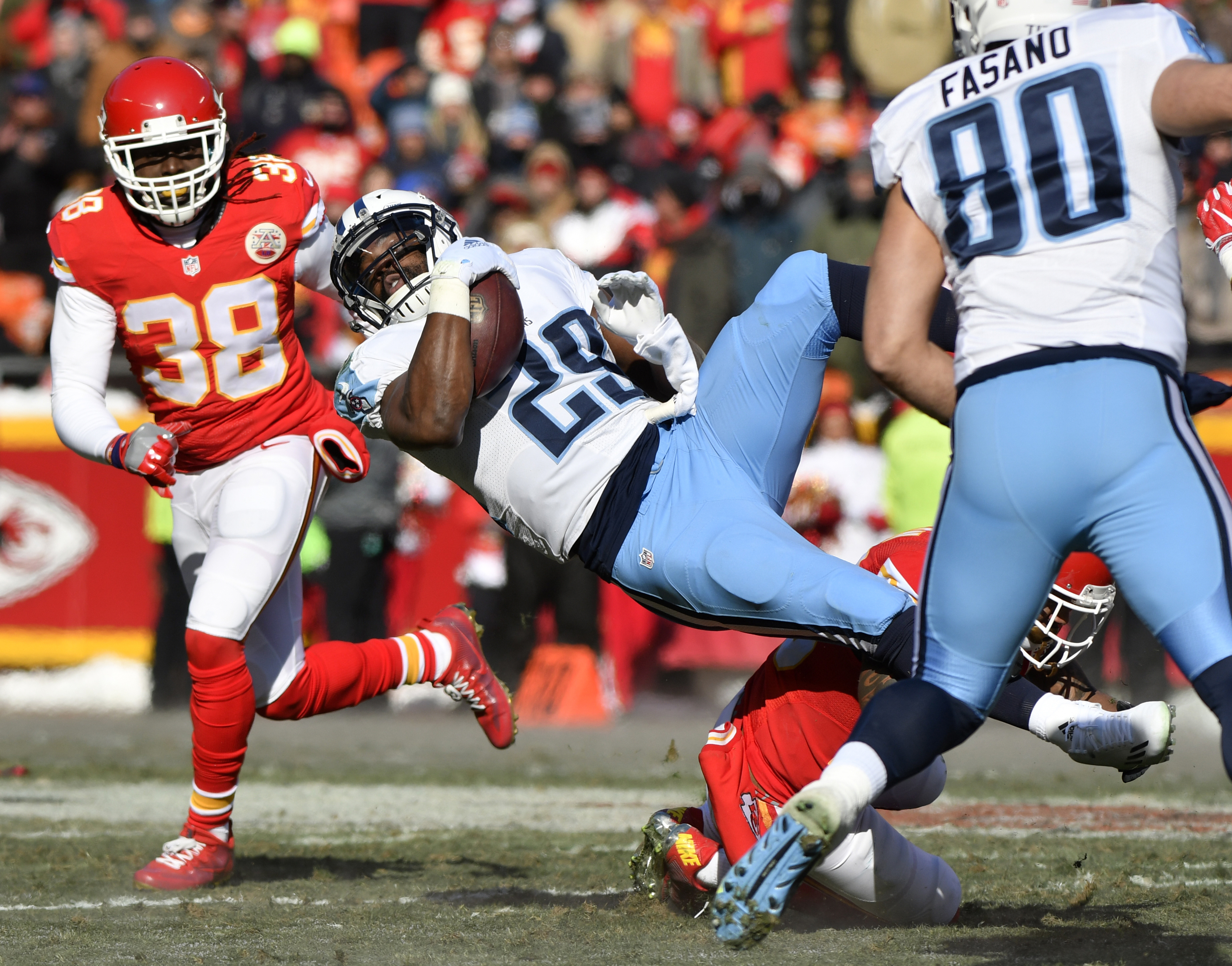 FILE - In a Sunday, Dec. 18, 2016 file photo, Tennessee Titans running back DeMarco Murray (29) is tackled by Kansas City Chiefs defensive back Steven Nelson, right rear, during the first half of an NFL football game in Kansas City, Mo. Murray has a chanc