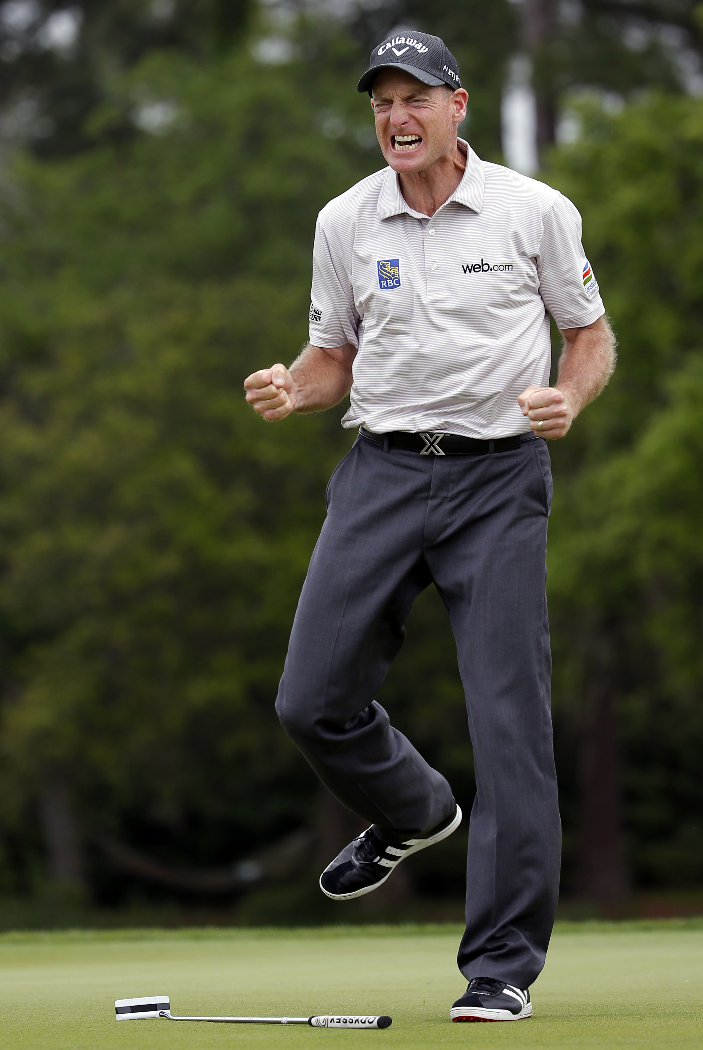 Jim Furyk reacts after his winning putt on the 17th hole against Kevin Kisner during the playoff of the RBC Heritage golf tournament in Hilton Head Island, S.C., Sunday, April 19, 2015. (AP Photo/Stephen B. Morton)