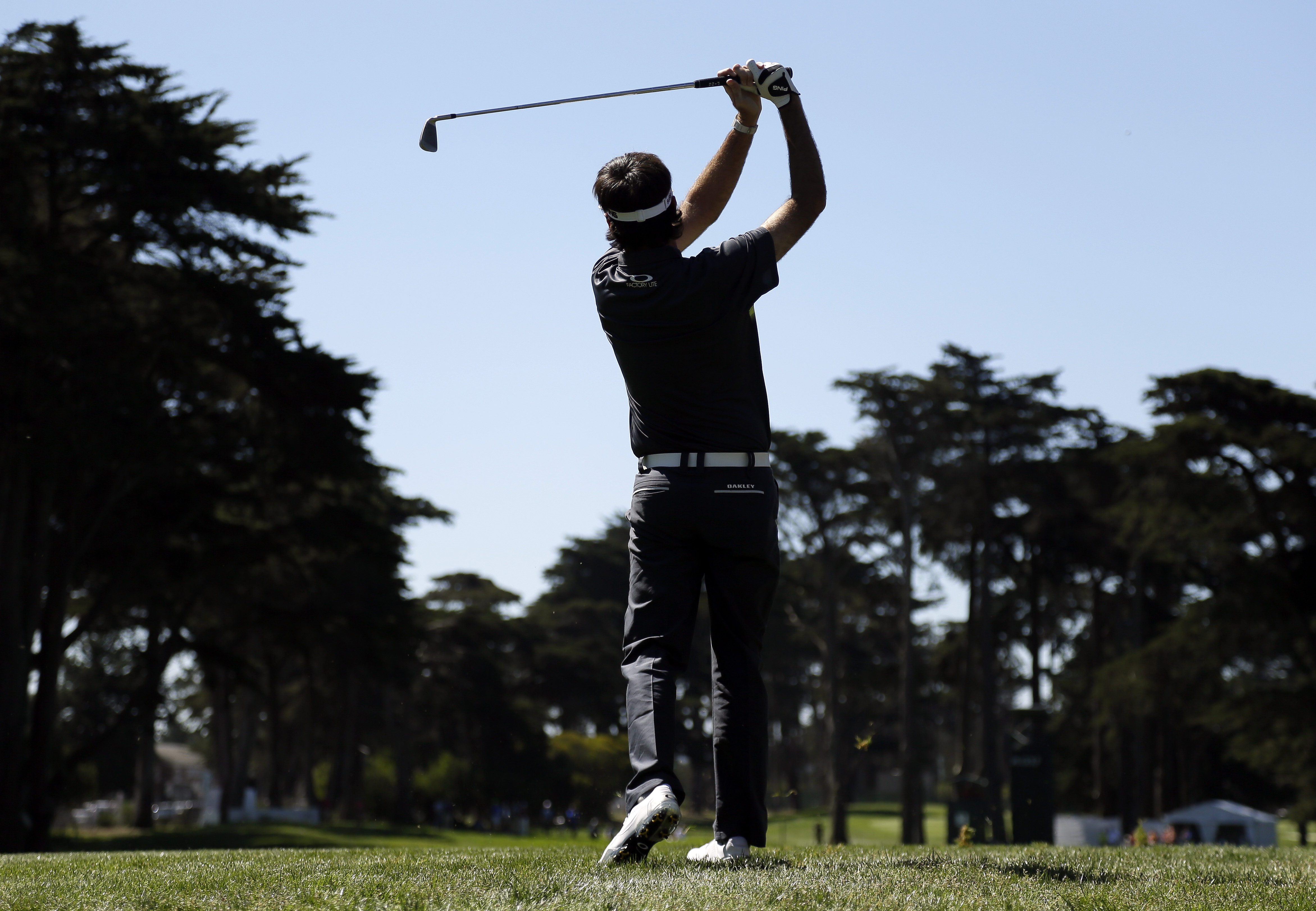 Bubba Watson hits from the third fairway at the Match Play Championship golf tournament Thursday, April 30, 2015, in San Francisco. (AP Photo/Eric Risberg)