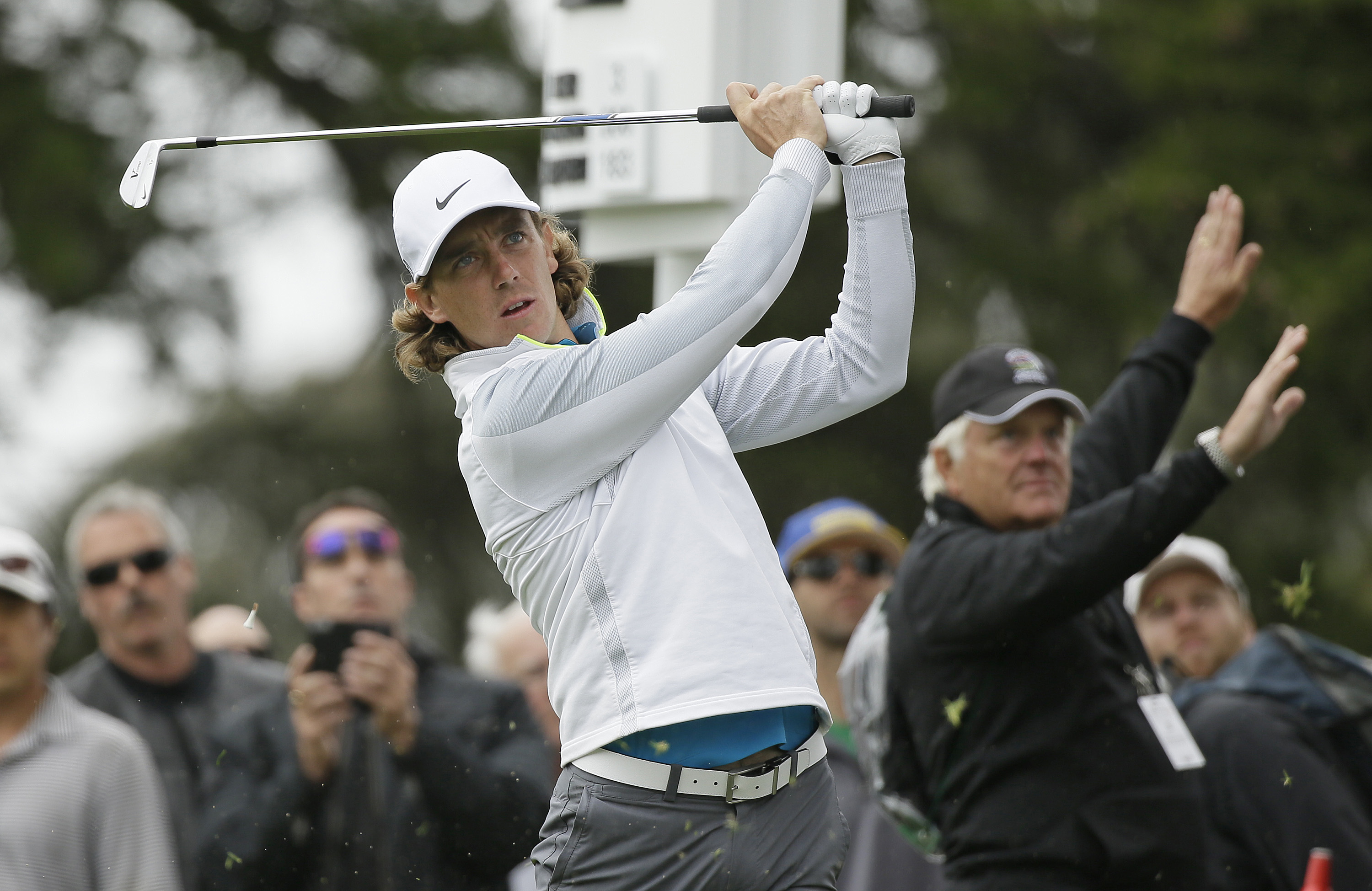 Tommy Fleetwood, of England, hits from the second tee of TPC Harding Park against Danny Willett, of England, in the quarterfinals of the Match Play Championship golf tournament Saturday, May 2, 2015, in San Francisco. (AP Photo/Eric Risberg)