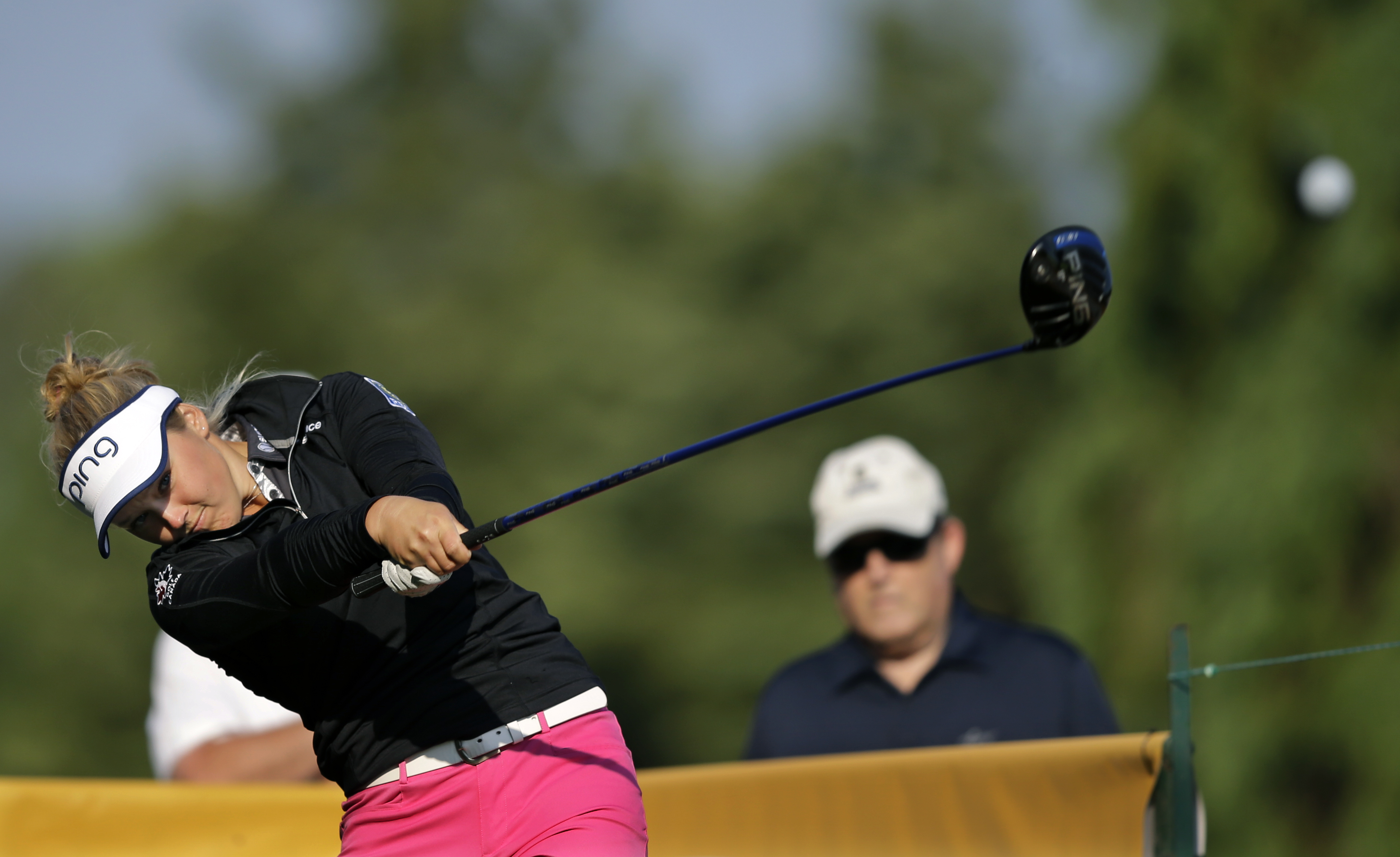 Brooke M. Henderson hits a tee shot on the 12th hole during the first round of the ShopRite LPGA Classic golf tournament, Friday, May 29, 2015, in Galloway Township, N.J. (AP Photo/Mel Evans)