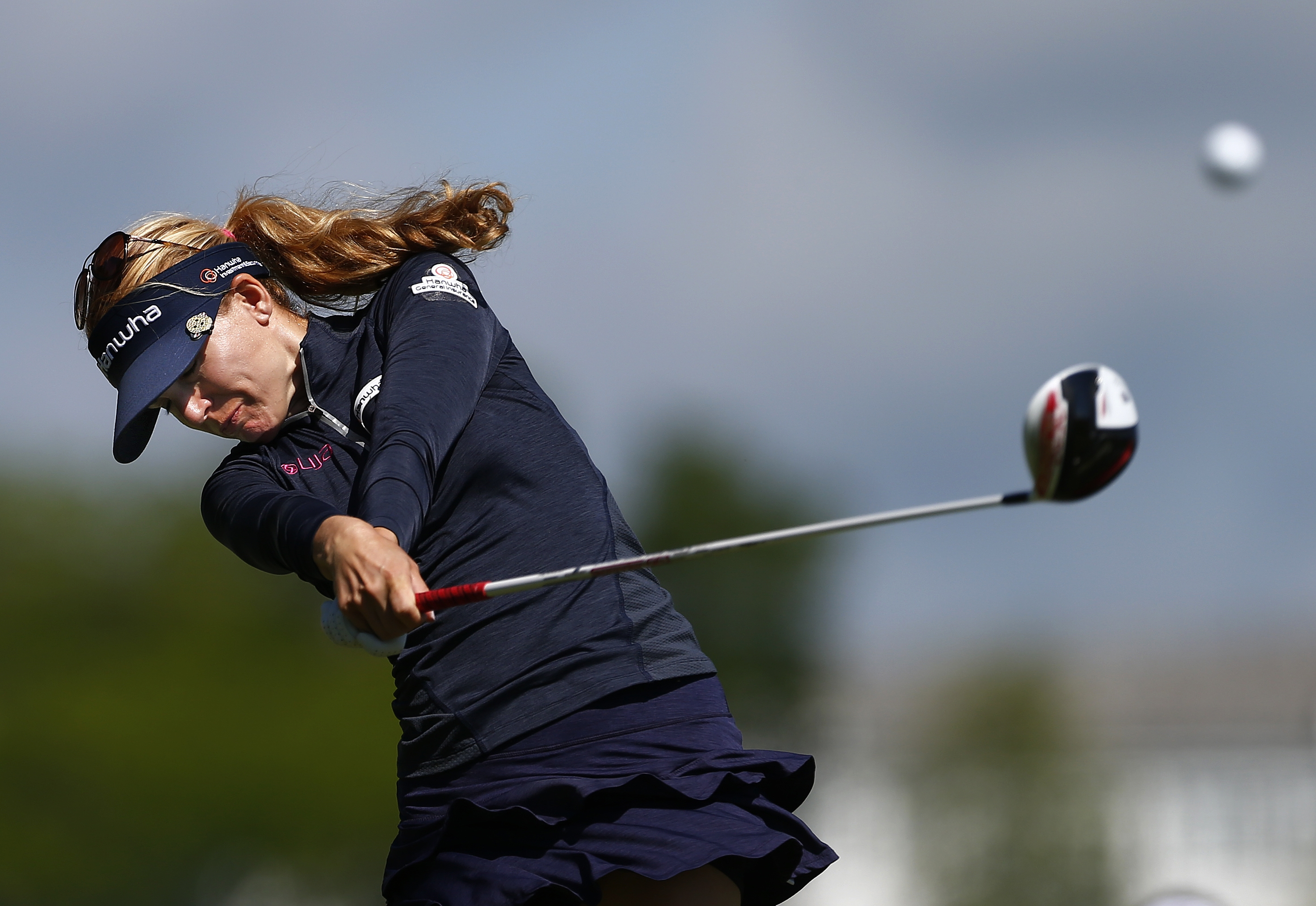 Sydnee Michaels hits her tee shot on the first hole during the second round of the ShopRite LPGA Classic golf tournament, Saturday, May 30, 2015, in Galloway Township, N.J. (AP Photo/Rich Schultz)