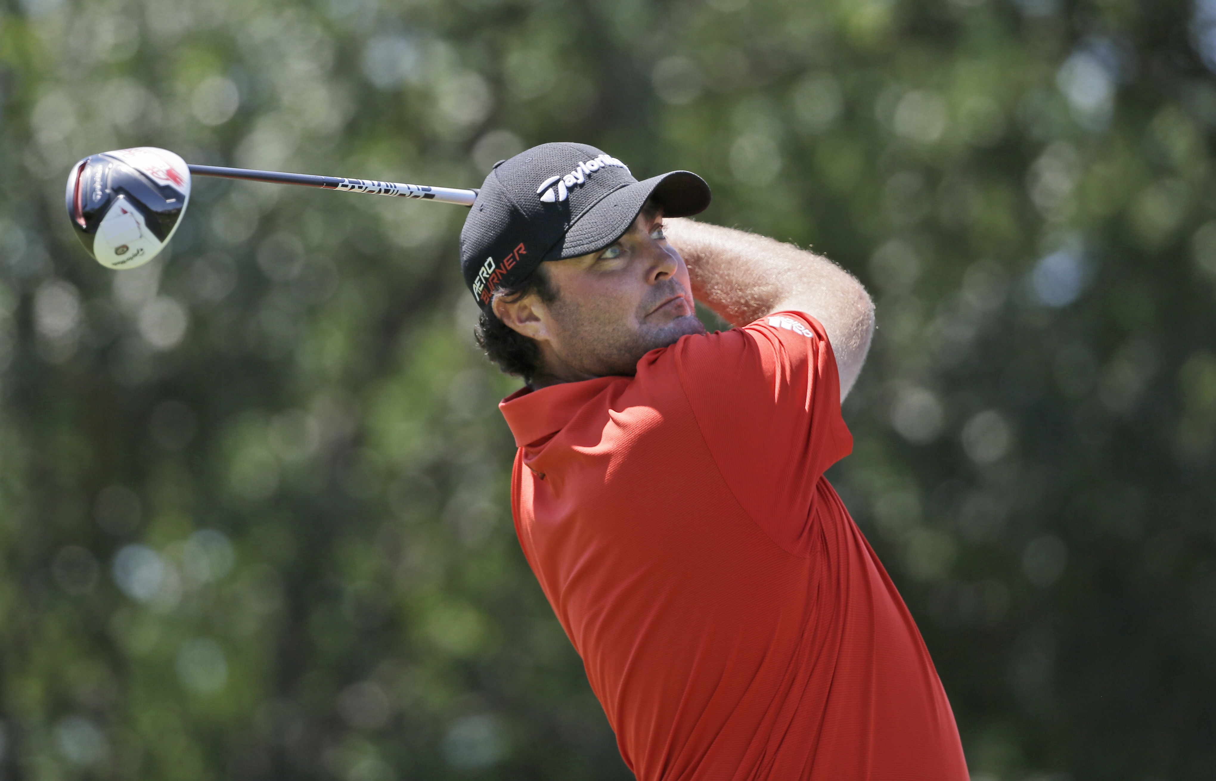 Steven Bowditch watches his tee shot on the second hole during the final round of the Byron Nelson golf tournament, Sunday, May 31, 2015, in Irving, Texas. (AP Photo/LM Otero)