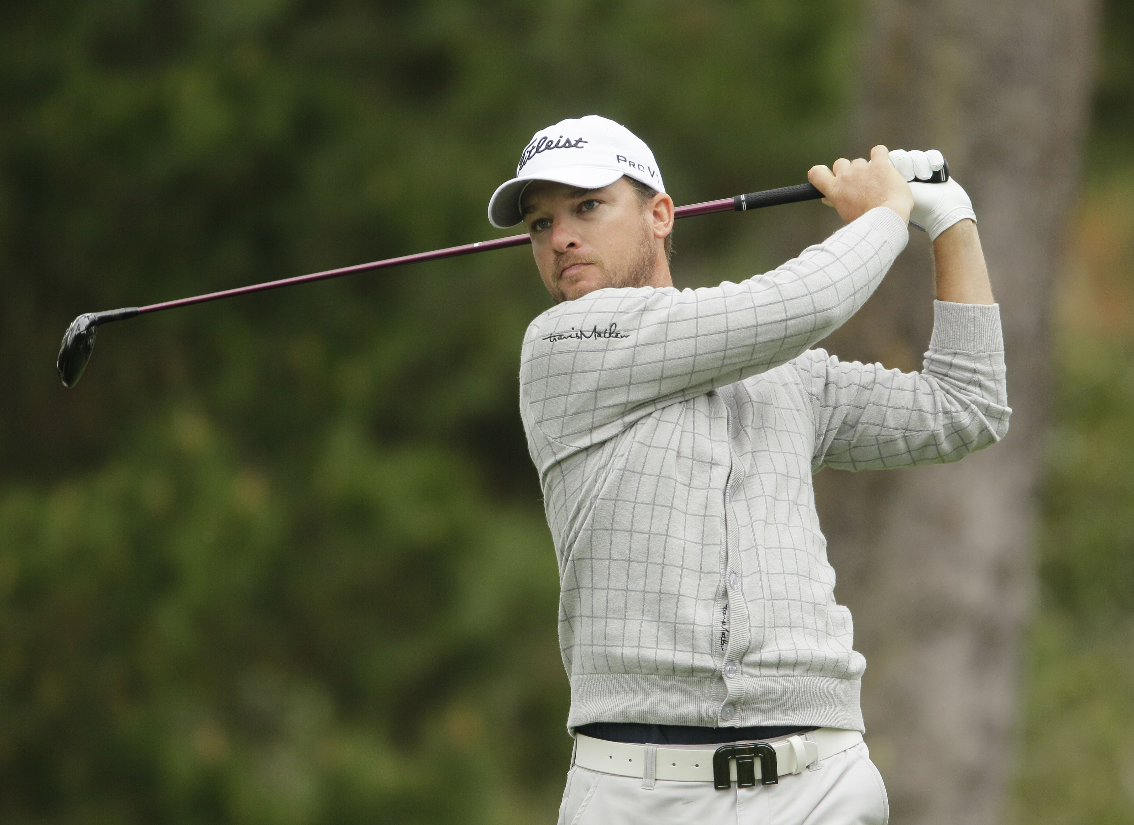 Kyle Thompson on the Spyglass Hill Golf Course during the second round of the AT&T Pebble Beach National Pro-Am PGA Tour golf tournament in Pebble Beach, Calif., Friday, Feb. 10, 2012. (AP Photo/Eric Risberg)