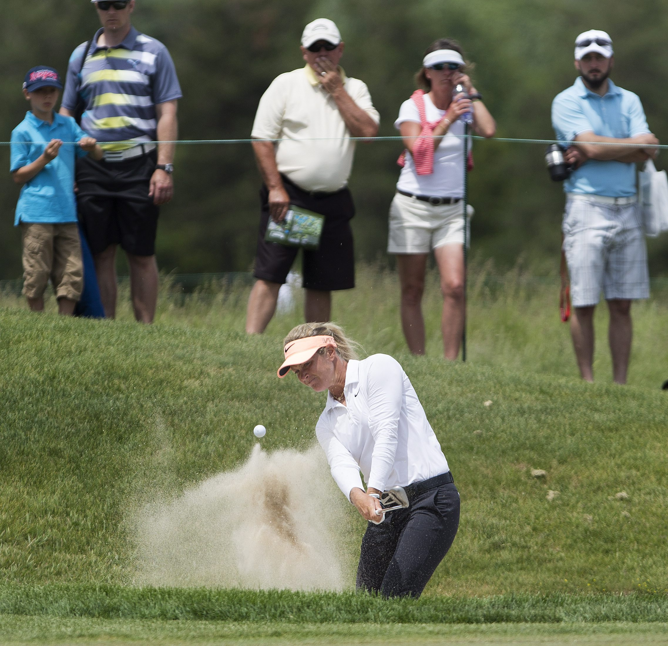 Suzann Pettersen, of Norway, hits out of the biker on the 5th hole during the final round of the 2015 Manulife LPGA Classic in Cambridge, Ontario, Sunday, June 7, 2015. (Peter Power/The Canadian Press via AP) MANDATORY CREDIT