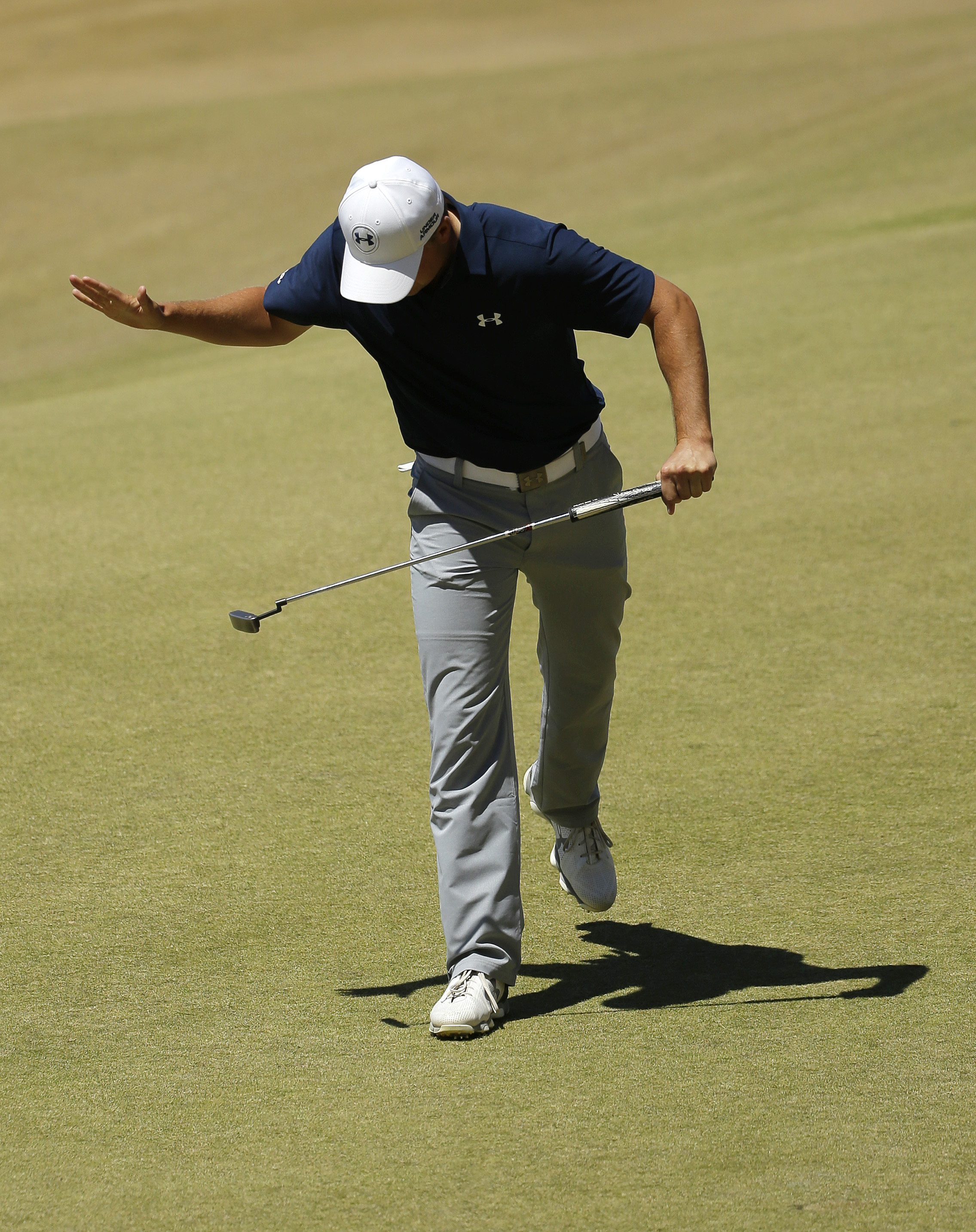 Jordan Spieth slaps his putter after missing a putt on the seventh hole during the second round of the U.S. Open golf tournament at Chambers Bay on Friday, June 19, 2015 in University Place, Wash. (AP Photo/Ted S. Warren)