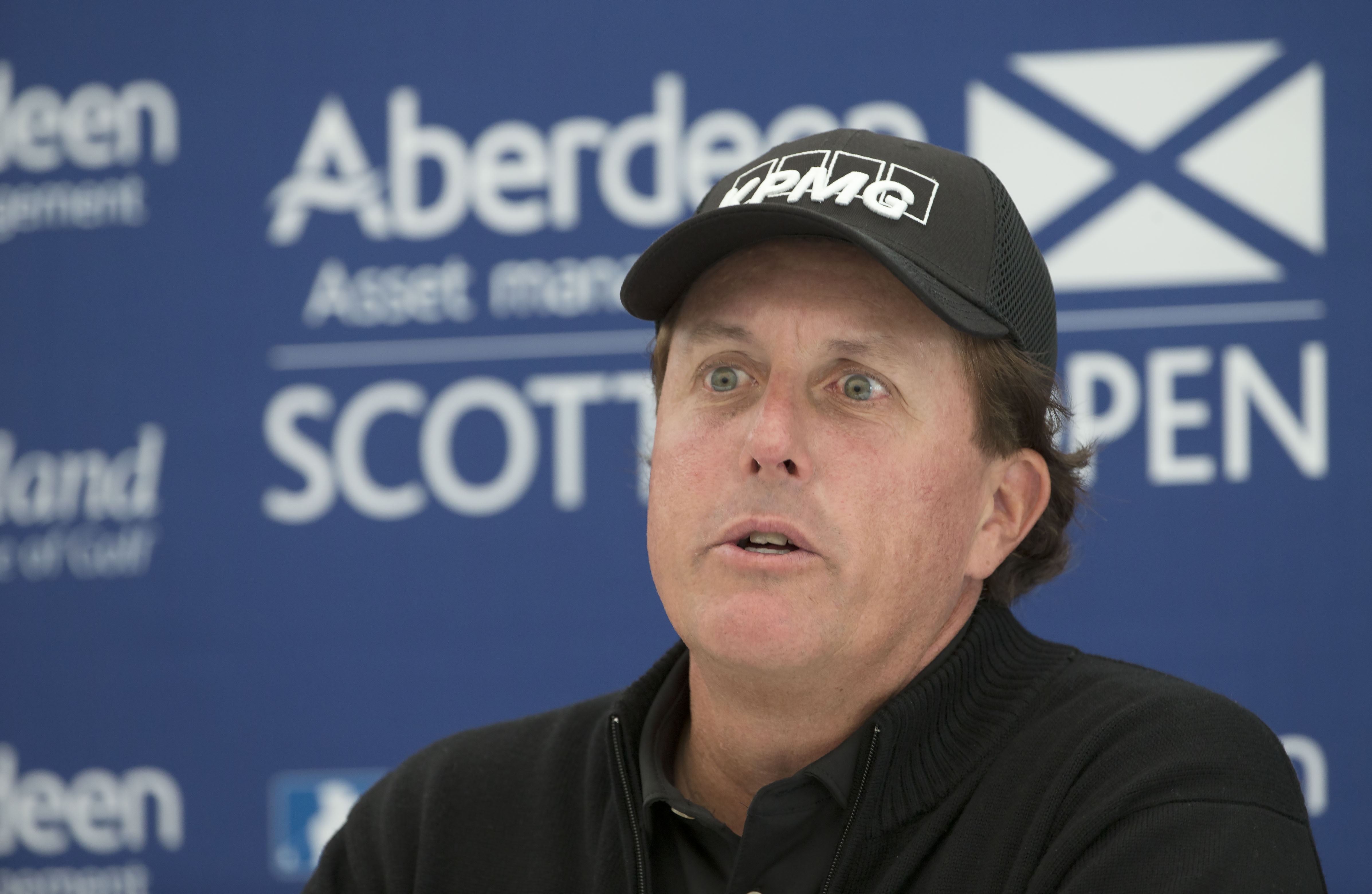 US golfer  Phil Mickelson answers questions from the media during a preview day ahead of the Scottish Open at Gullane Golf Club, Gullane Scotland Wednesday July 8, 2015. Five-time major champion Phil Mickelson has refused to comment on allegations linking