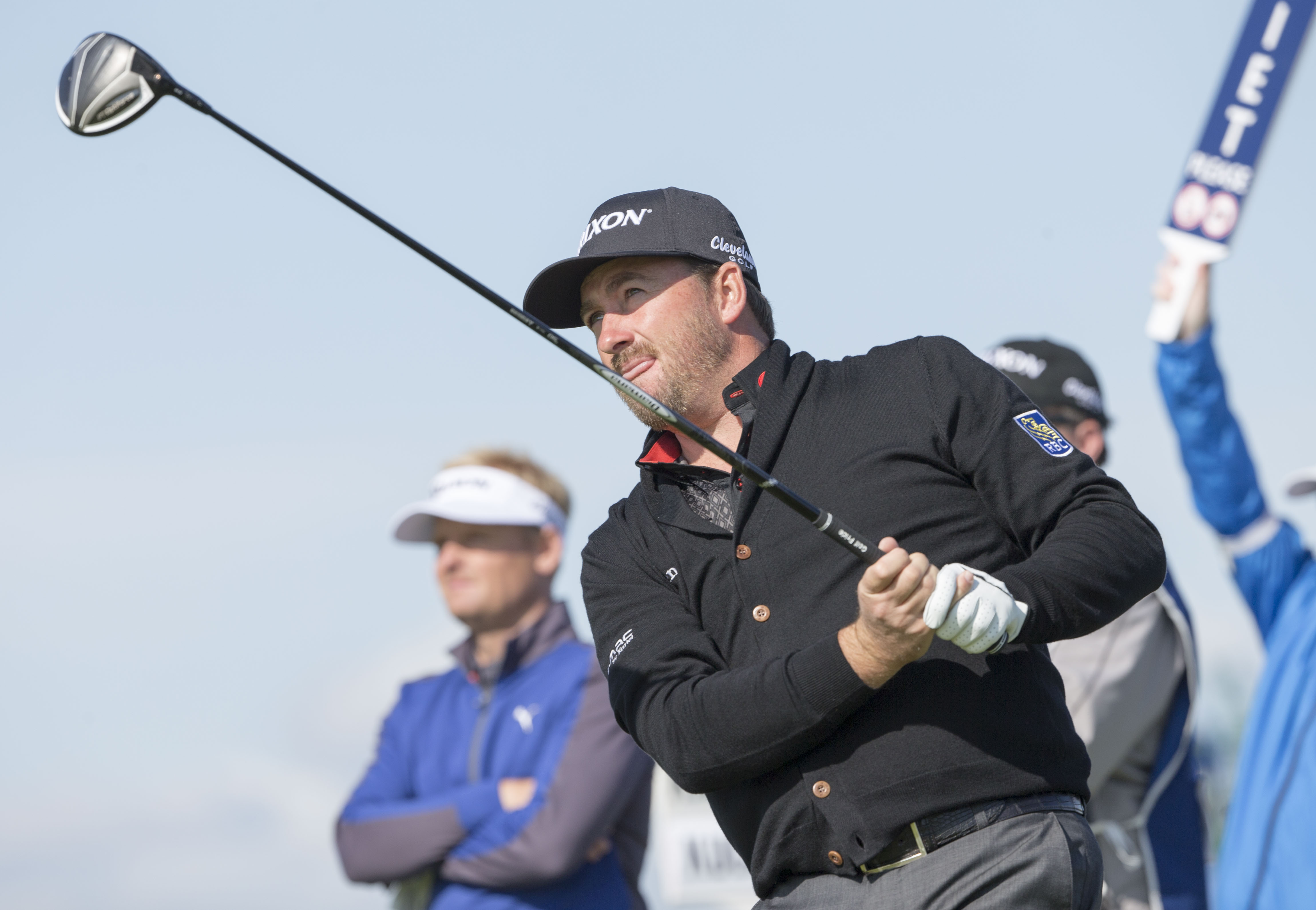 Northern Ireland's Graeme McDowell tees off at the 5th hole during day one of the Scottish Open at Gullane Golf Club, in Gullane Scotland Thursday July 9, 2015. (Kenny Smith/PA via AP) UNITED KINGDOM OUT  NO SALES NO ARCHIVE