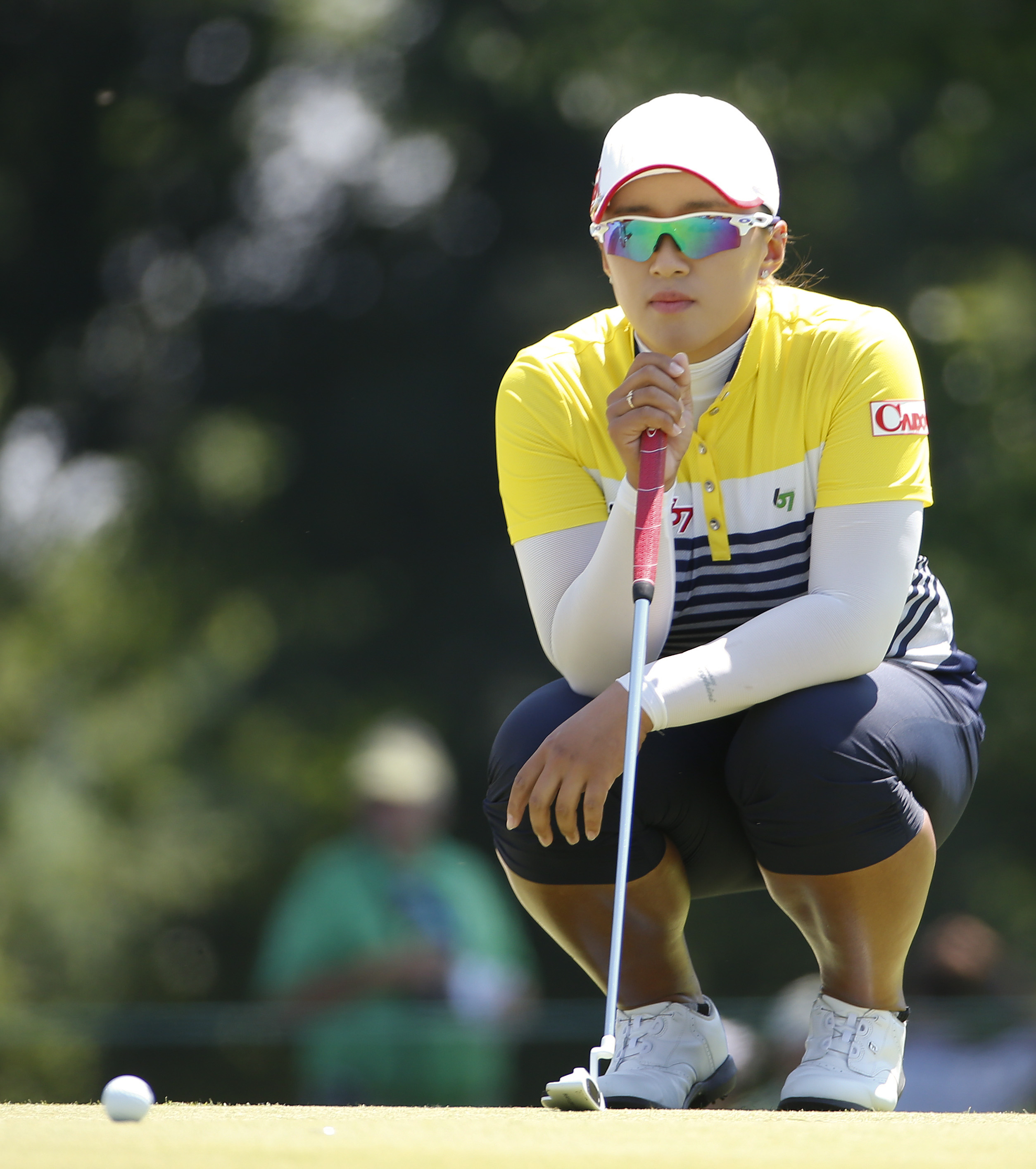 Amy Yang lines up a putt on the second green during the third round of the U.S. Women's Open golf tournament at Lancaster Country Club, Saturday, July 11, 2015 in Lancaster, Pa. (AP Photo/Gene J. Puskar)