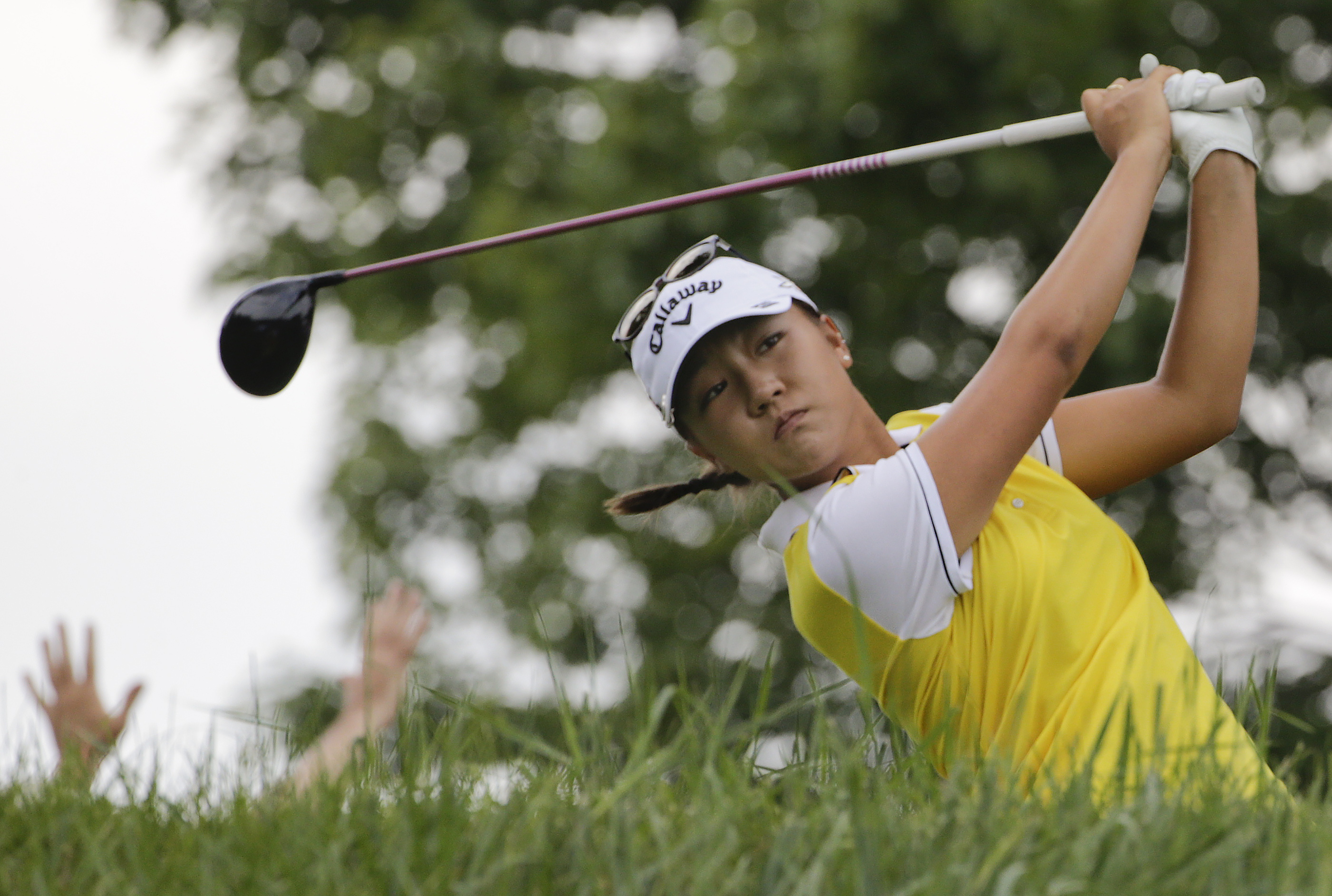 Lydia Ko tees off on the third hole during the final round of the U.S. Women's Open golf tournament at Lancaster Country Club, Sunday, July 12, 2015 in Lancaster, Pa. (AP Photo/Frank Franklin II)