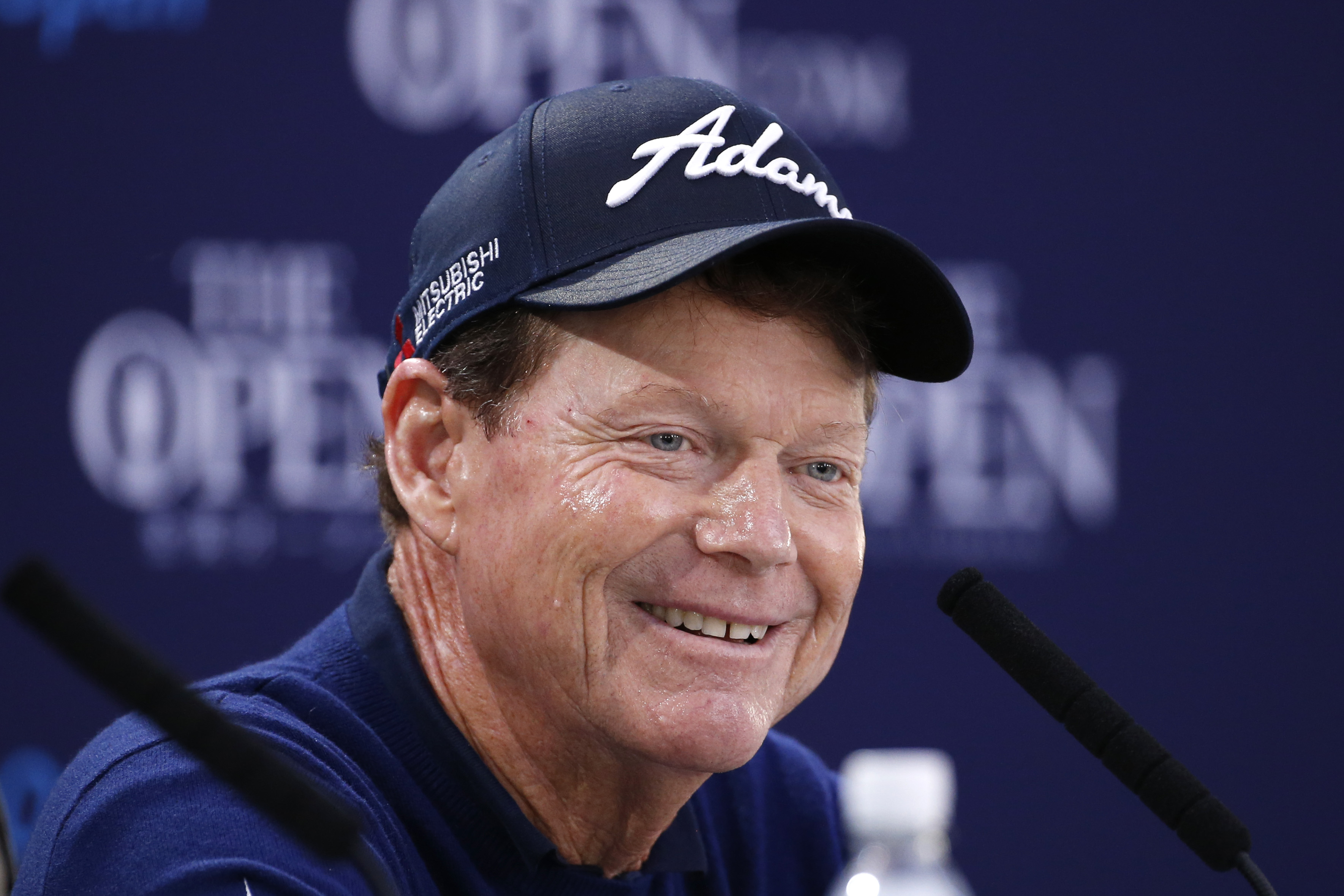 United States' Tom Watson smiles at a news conference during a practice round at the British Open Golf Championship at the Old Course, St. Andrews, Scotland, Wednesday, July 15, 2015. (AP Photo/Jon Super)