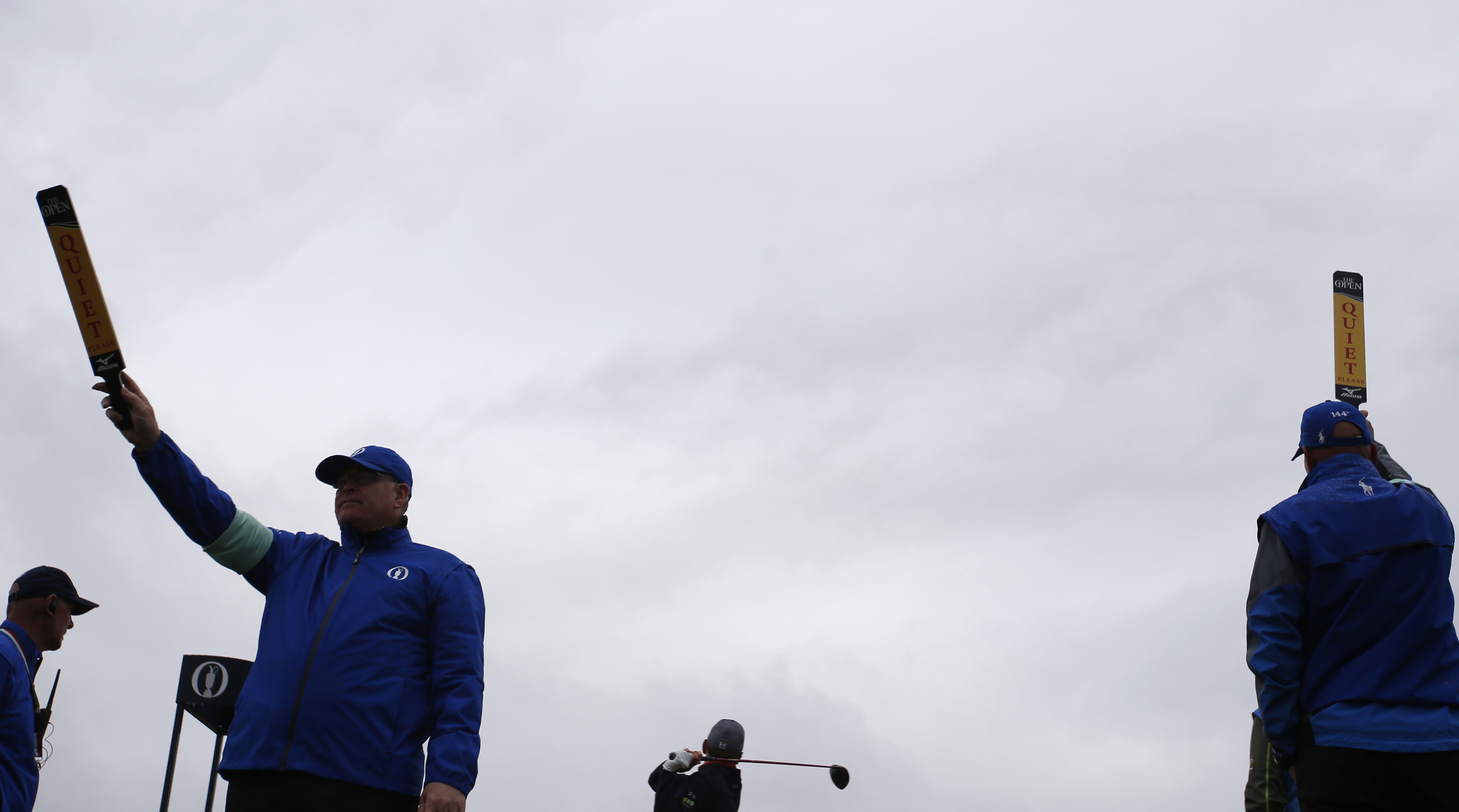 England's Mark Young drives a ball from the fifth tee during a practice round at the British Open Golf Championship at the Old Course, St. Andrews, Scotland, Wednesday, July 15, 2015. (AP Photo/Alastair Grant)