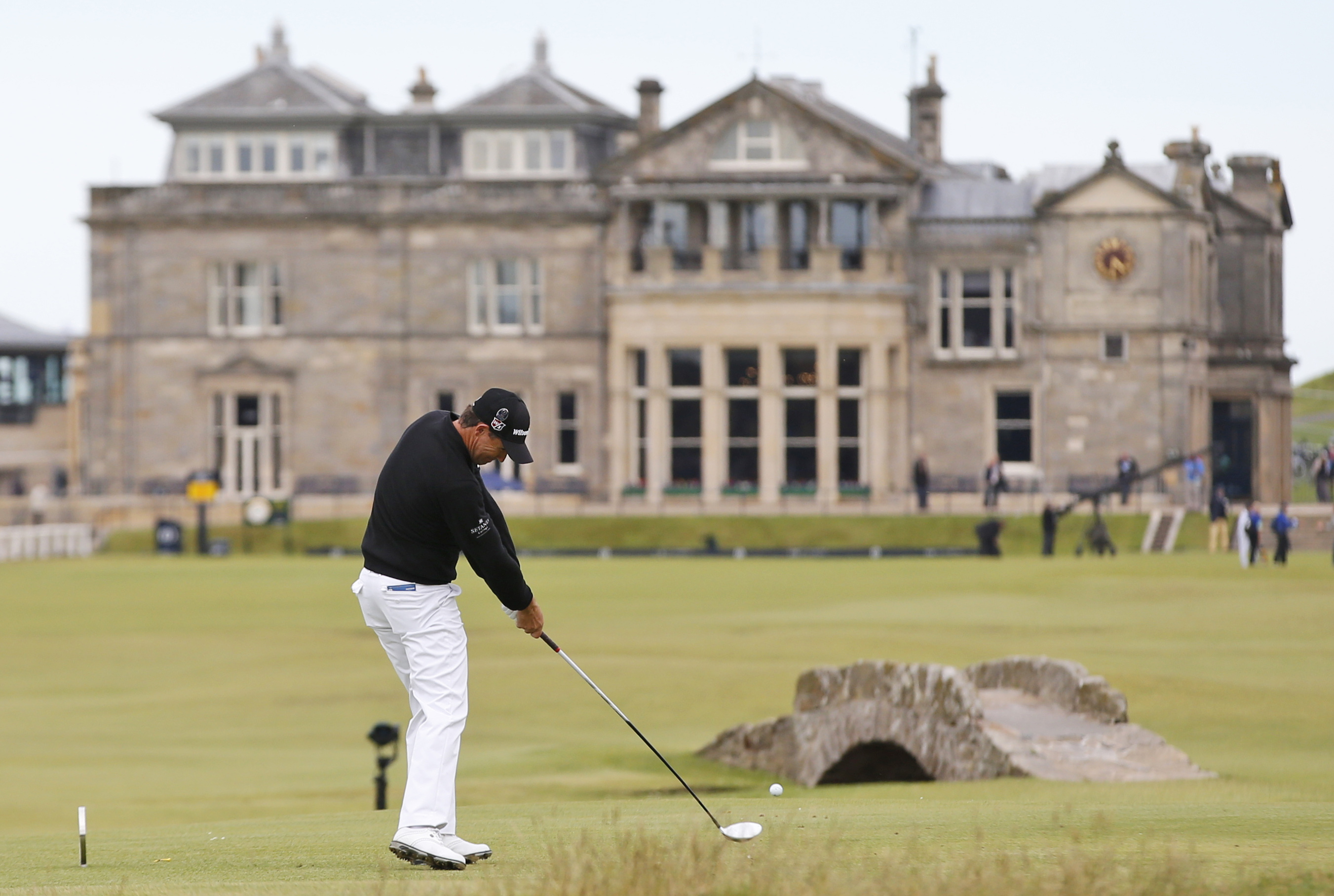 Ireland's Padraig Harrington plays from the 18th tee during the third round of the British Open Golf Championship at the Old Course, St. Andrews, Scotland, Sunday, July 19, 2015. (AP Photo/Alastair Grant)