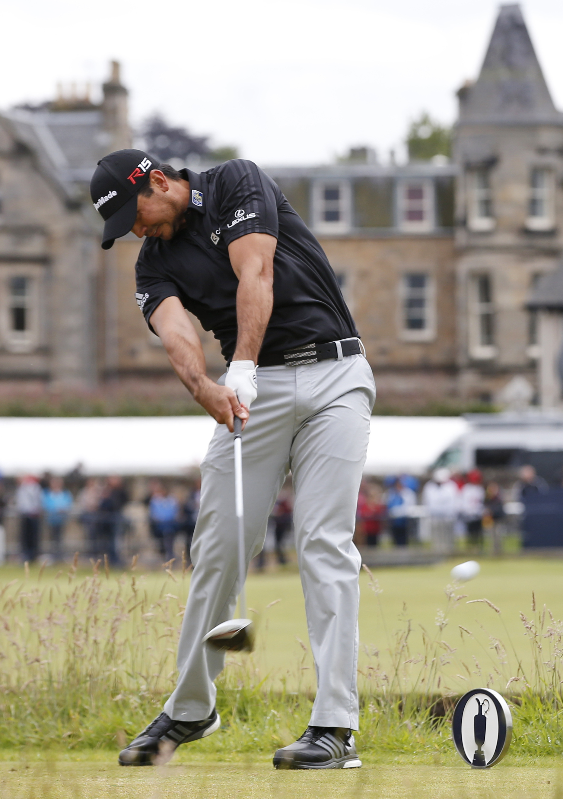 Australia's Jason Day plays from the second tee during the third round of the British Open Golf Championship at the Old Course, St. Andrews, Scotland, Sunday, July 19, 2015. (AP Photo/Alastair Grant)