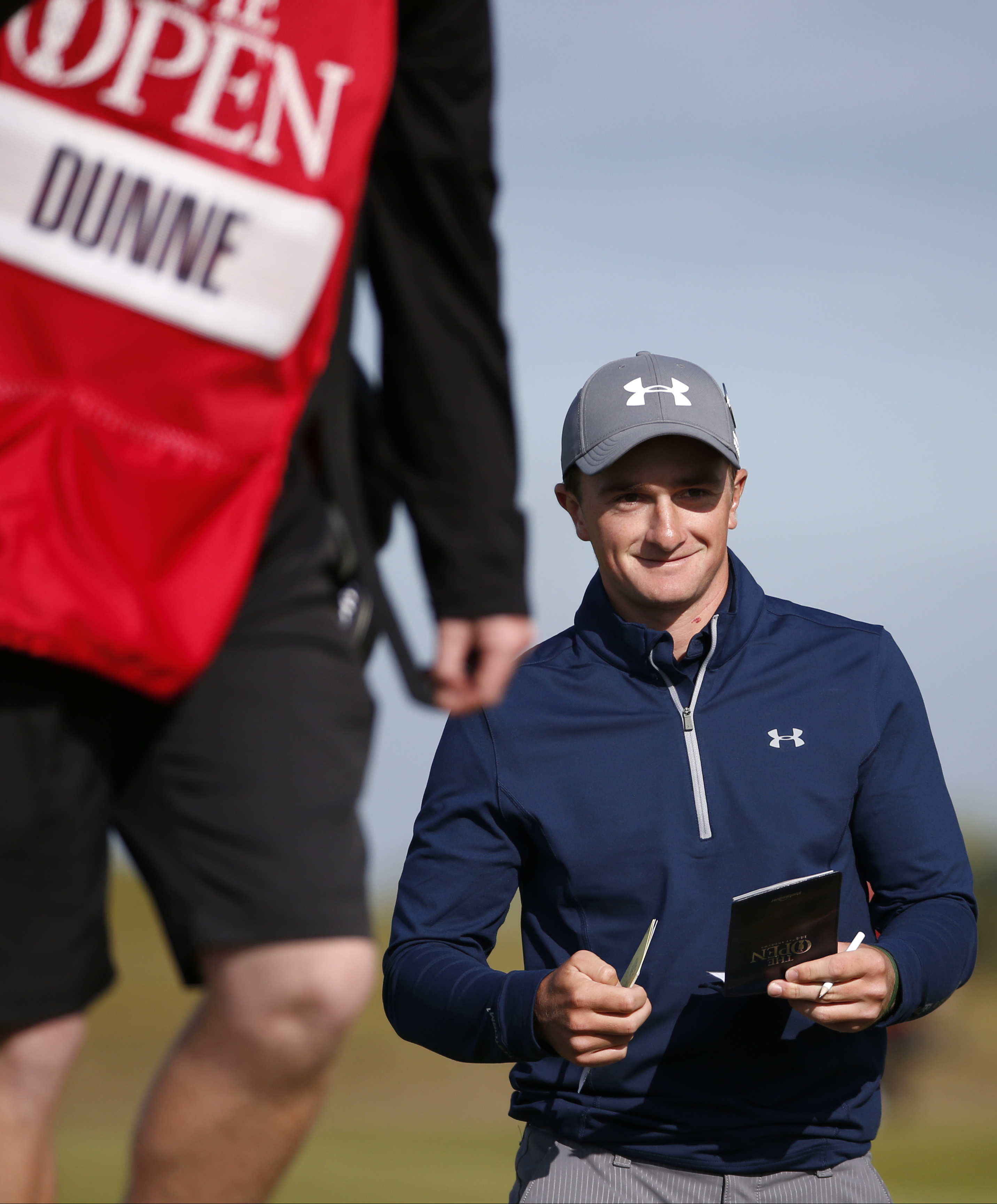 Ireland's Paul Dunne walks on the course during the third round of the British Open Golf Championship at the Old Course, St. Andrews, Scotland, Sunday, July 19, 2015. (AP Photo/Jon Super)