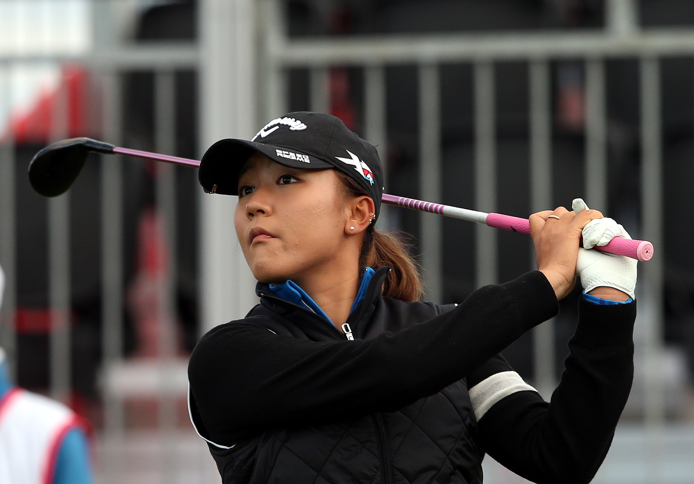 Lydia Ko of New Zealand tees off from the first hole during the first day of the Women's British Open golf championship on the Turnberry golf course in Turnberry, Scotland, Thursday, July 30, 2015. (AP Photo/Scott Heppell)