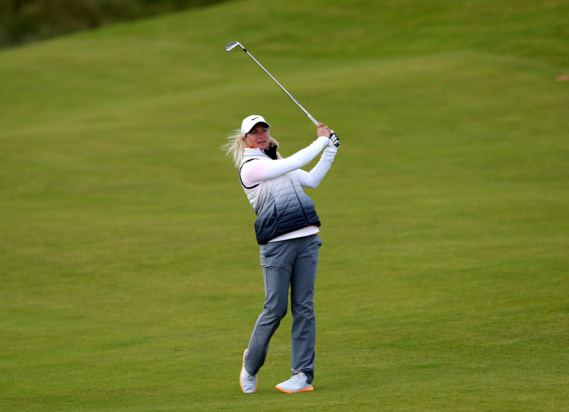 Suzann Pettersen of Norway plays her second shot on the 7th fairway during the second day of the Women's British Open golf championship on the Turnberry golf course in Turnberry, Scotland, Friday, July 31, 2015. (AP Photo/Scott Heppell)
