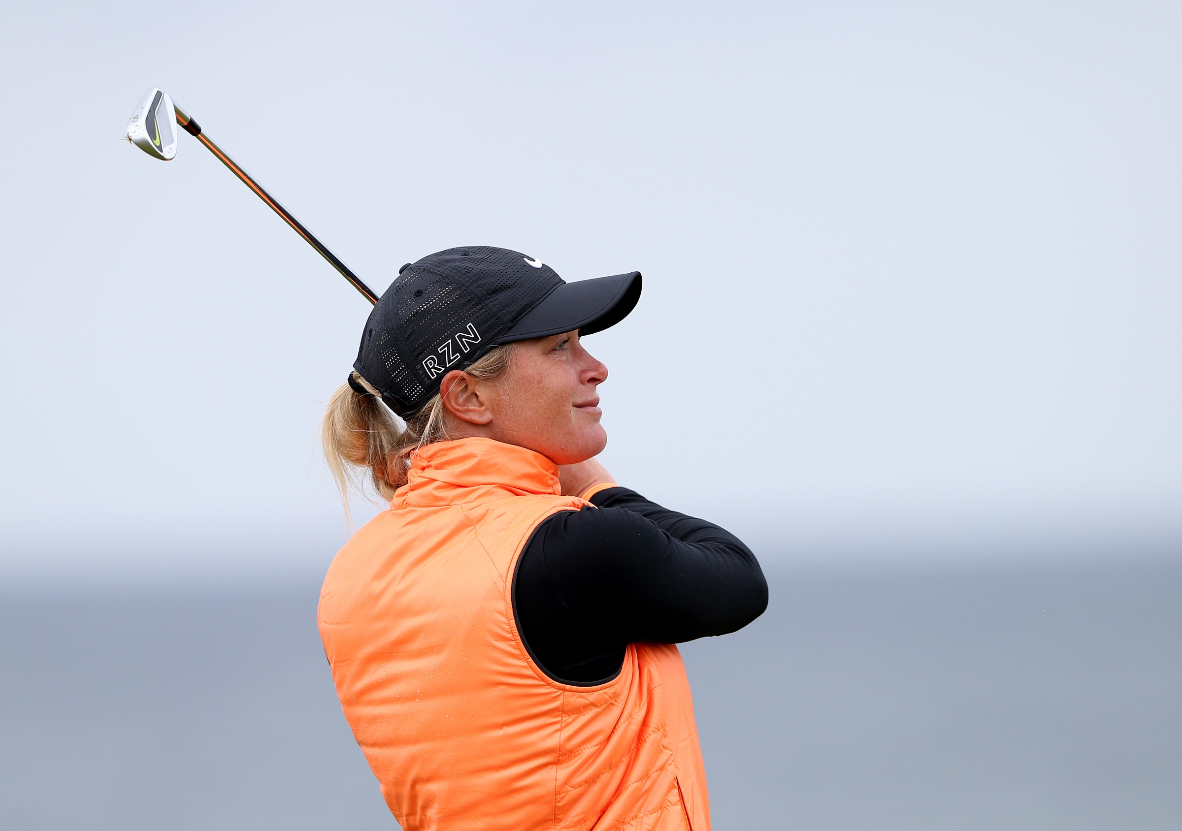 Suzann Pettersen of Norway tees off from the 4th during the final day of the Women's British Open golf championship on the Turnberry golf course in Turnberry, Scotland, Sunday, Aug. 2, 2015. (AP Photo/Scott Heppell)