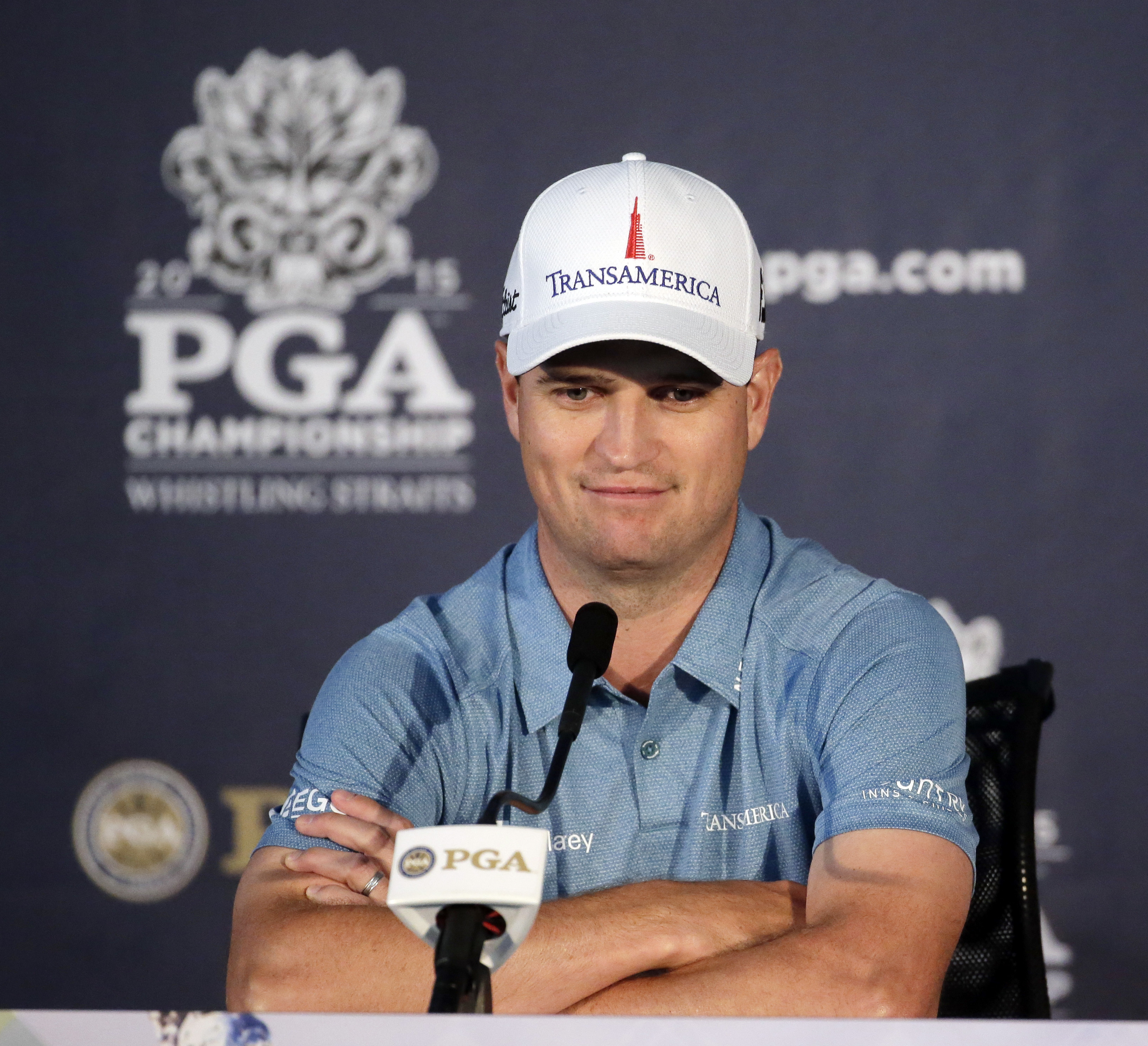 Zach Johnson answers questions before a practice round for the PGA Championship golf tournament Tuesday, Aug. 11, 2015, at Whistling Straits in Haven, Wis. (AP Photo/Chris Carlson)