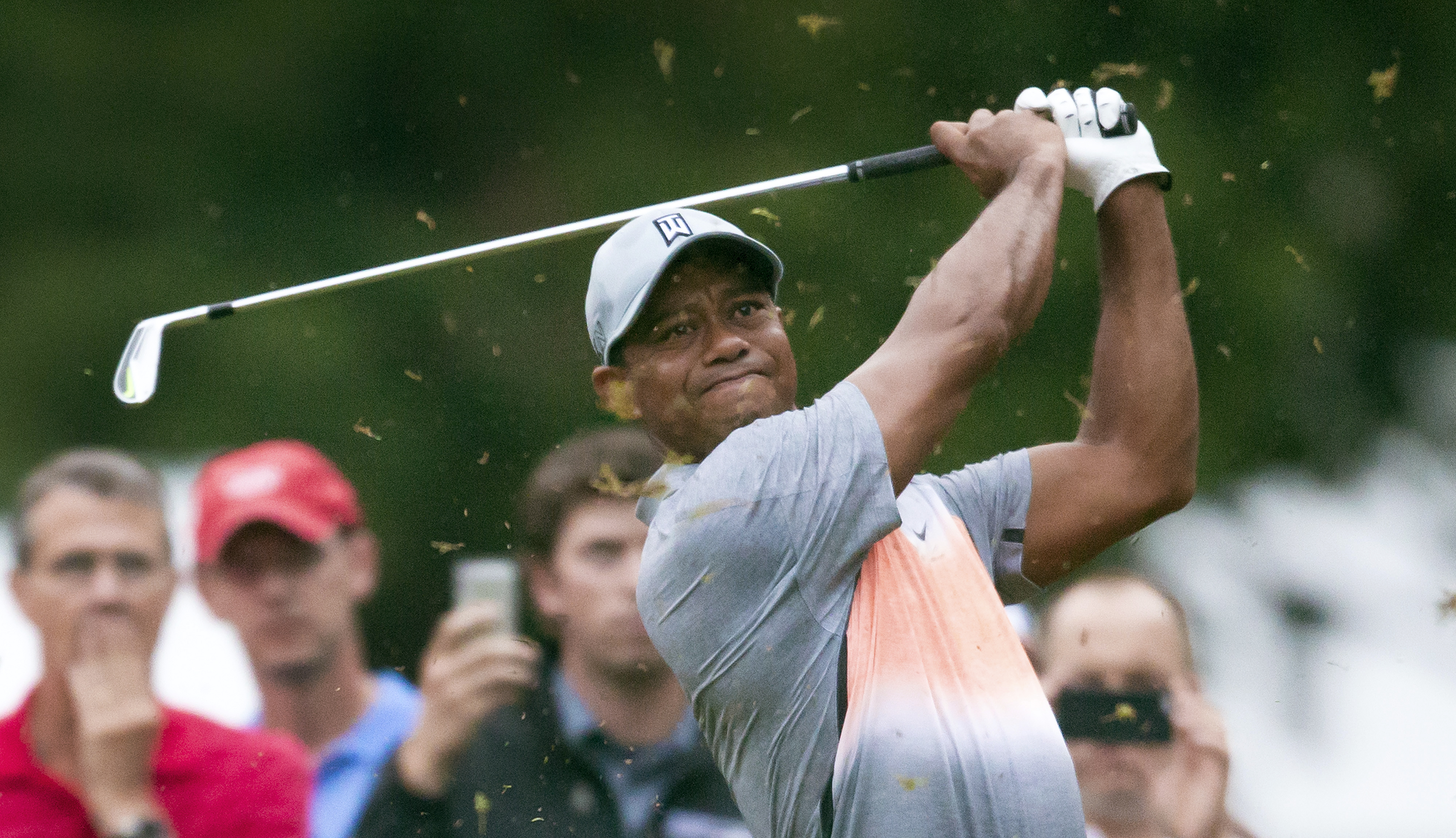 Tiger Woods tees off on the third hole during the pro-am at the Wyndham Championship golf tournament, Wednesday, Aug. 19, 2015, at Sedgefield Country Club in Greensboro, N.C. (AP Photo/Rob Brown)