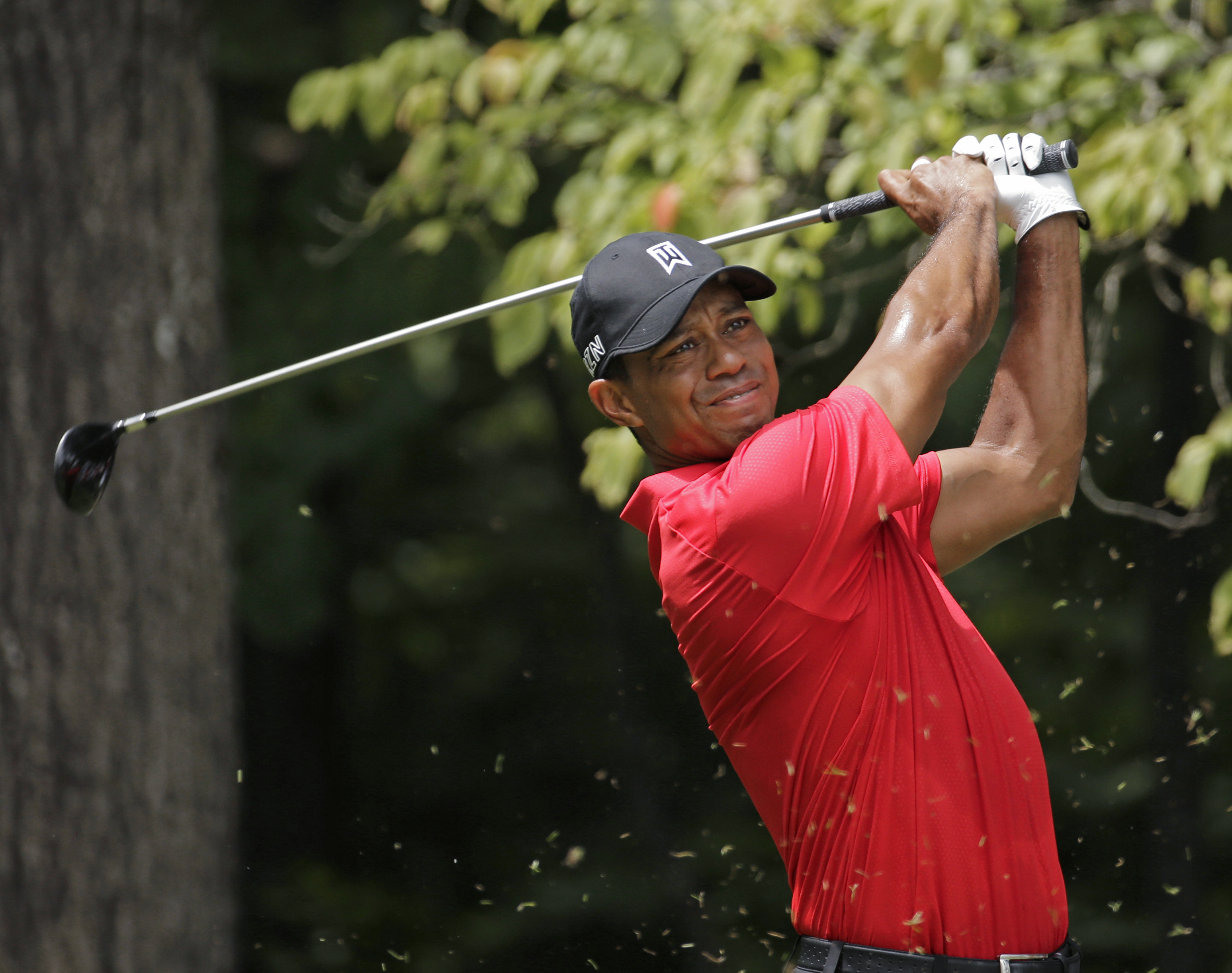 Tiger Woods watches his tee shot on the second hole during the final round of the Wyndham Championship golf tournament at Sedgefield Country Club in Greensboro, N.C., Sunday, Aug. 23, 2015. (AP Photo/Chuck Burton)