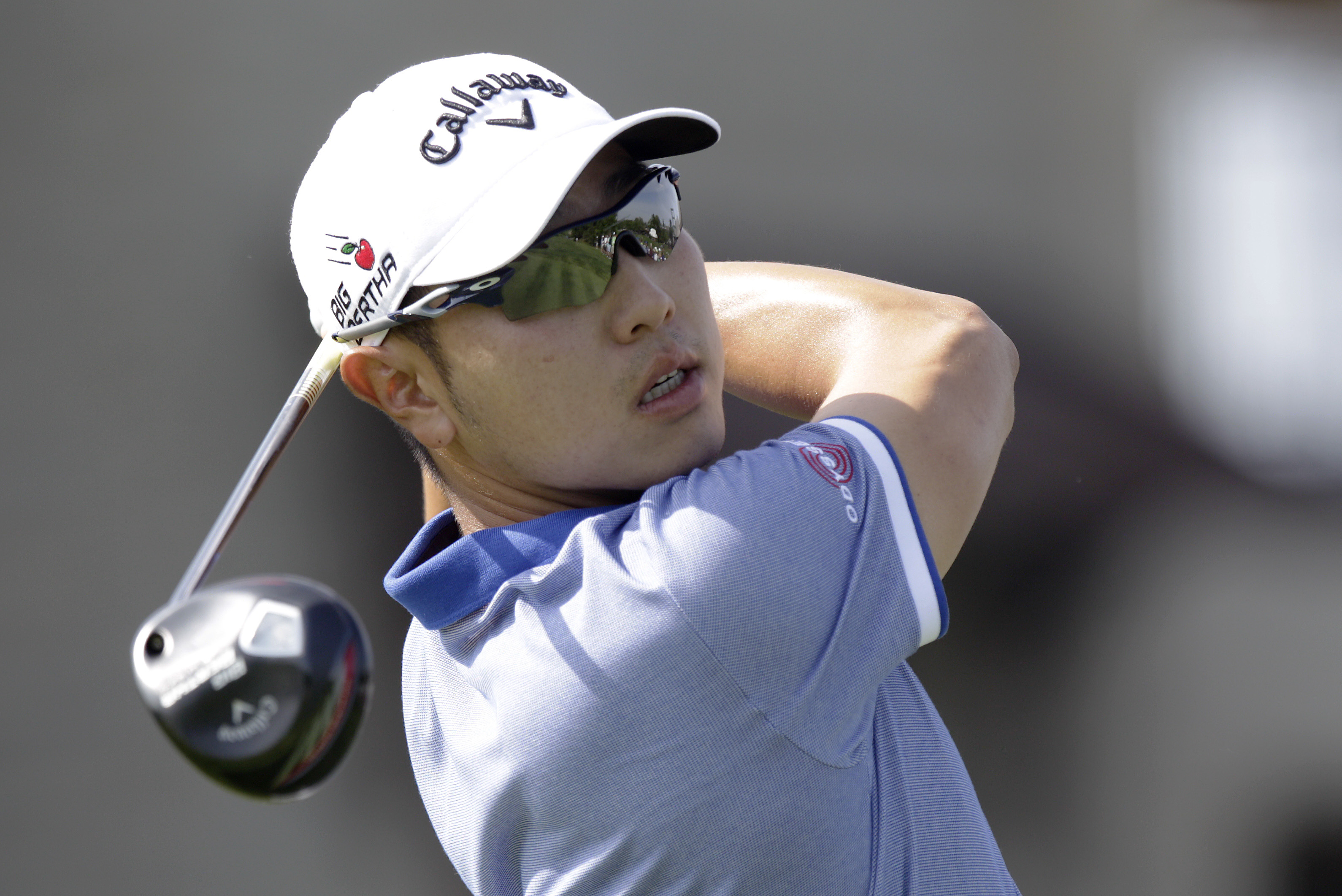 Bae Sang-moon, of South Korea, tees off on the 10th hole during the second round of the Memorial golf tournament Friday, June 5, 2015, in Dublin, Ohio. (AP Photo/Jay LaPrete)