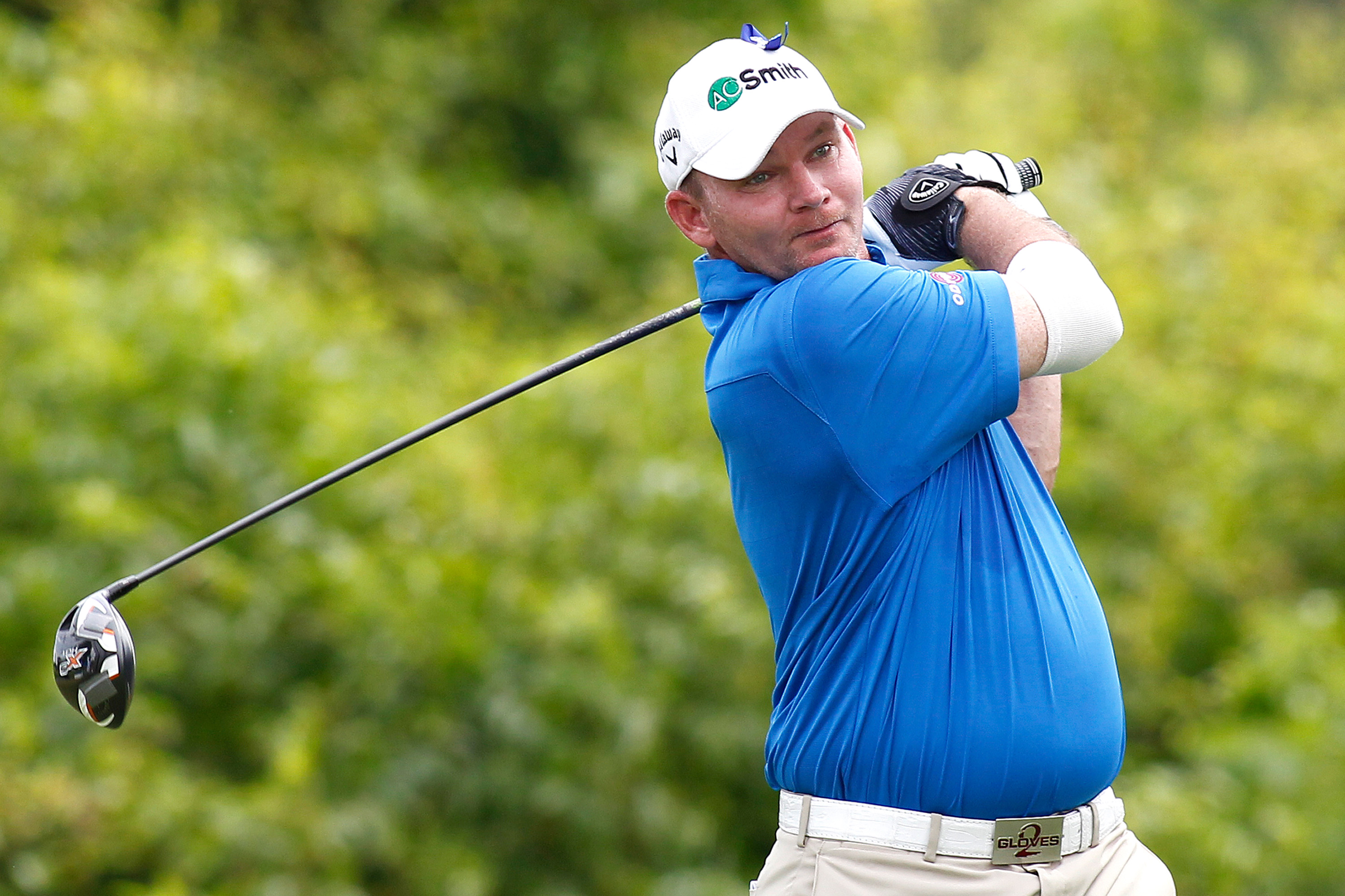 Tommy Gainey tees off on the 2nd hole during the third round of the PGA Zurich Classic golf tournament at TPC Louisiana in Avondale, La., Saturday, April 26, 2014. (AP Photo/Jonathan Bachman)