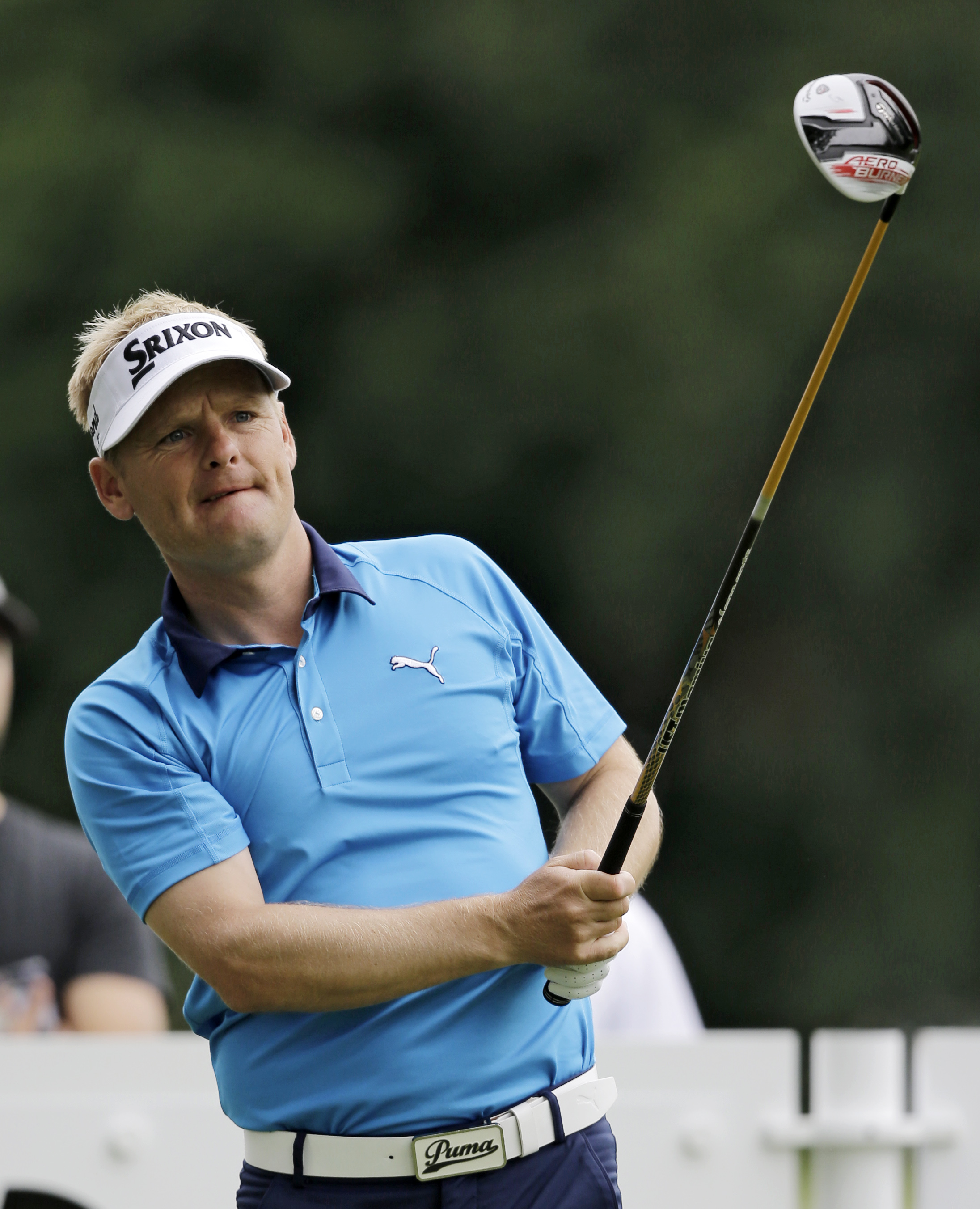Soren Kjeldsen, from Denmark, tees off on the 11th hole during the first round of the Bridgestone Invitational golf tournament at Firestone Country Club, Thursday, Aug. 6, 2015, in Akron, Ohio. (AP Photo/Tony Dejak)