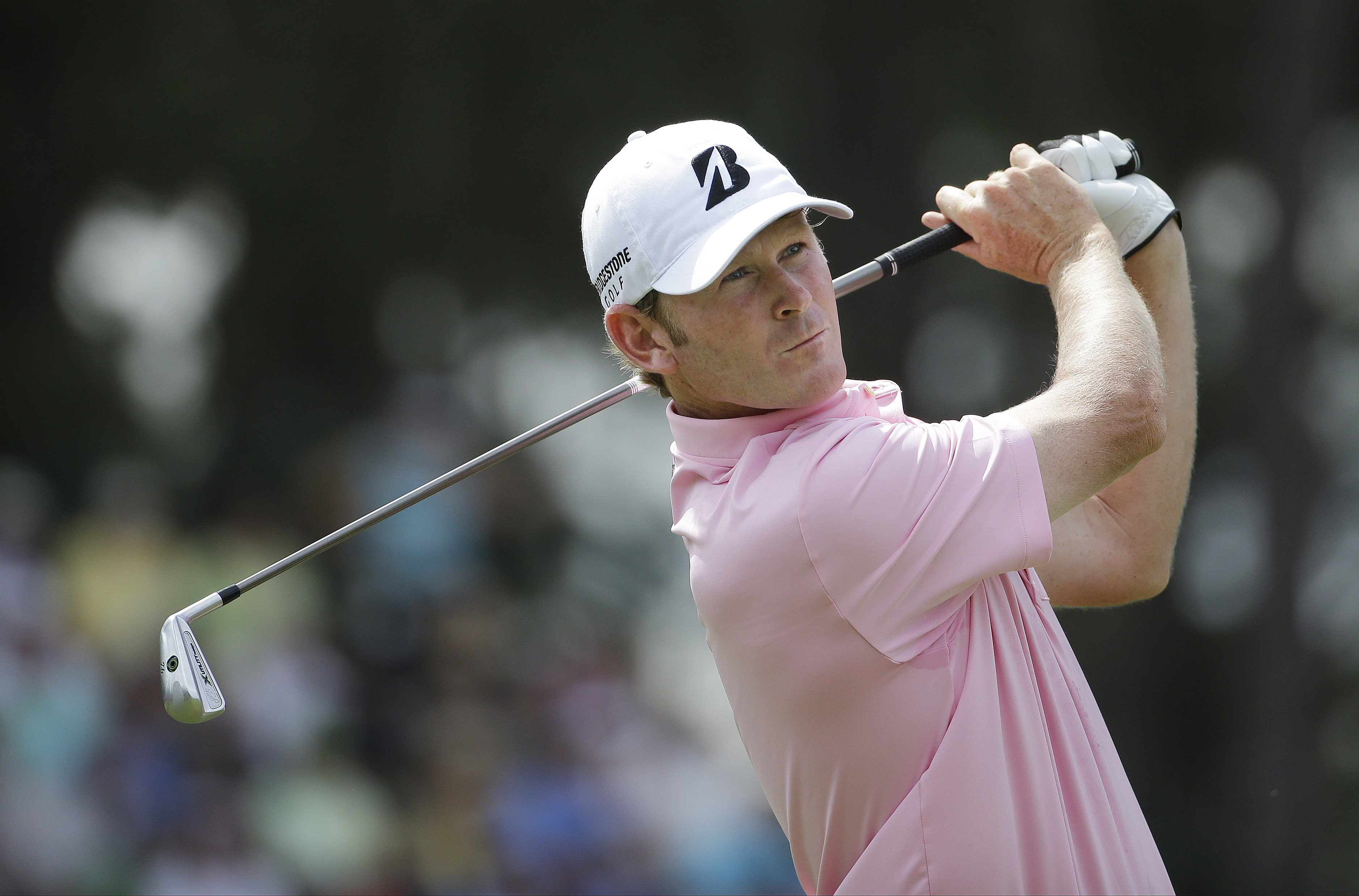 Brett Stegmaier watches his tee shot on the 13th hole during the first round of the U.S. Open golf tournament in Pinehurst, N.C., Thursday, June 12, 2014. (AP Photo/David Goldman)