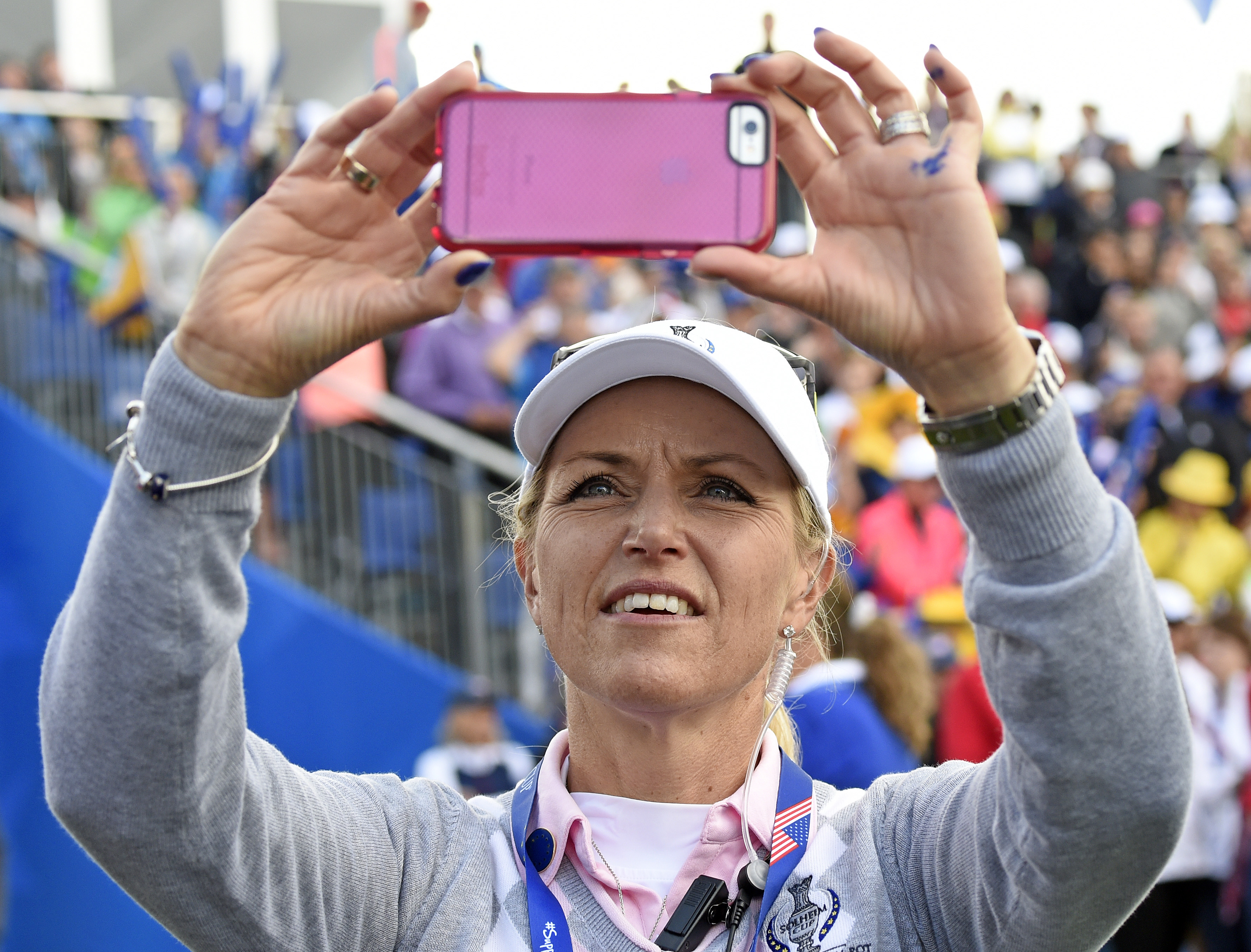Europe's team captain Carin Koch of Sweden during the fourballs on Day2 at the Solheim Cup golf tournament in St. Leon-Rot, southern Germany, Saturday, Sept. 19, 2015. (AP Photo/Jens Meyer)