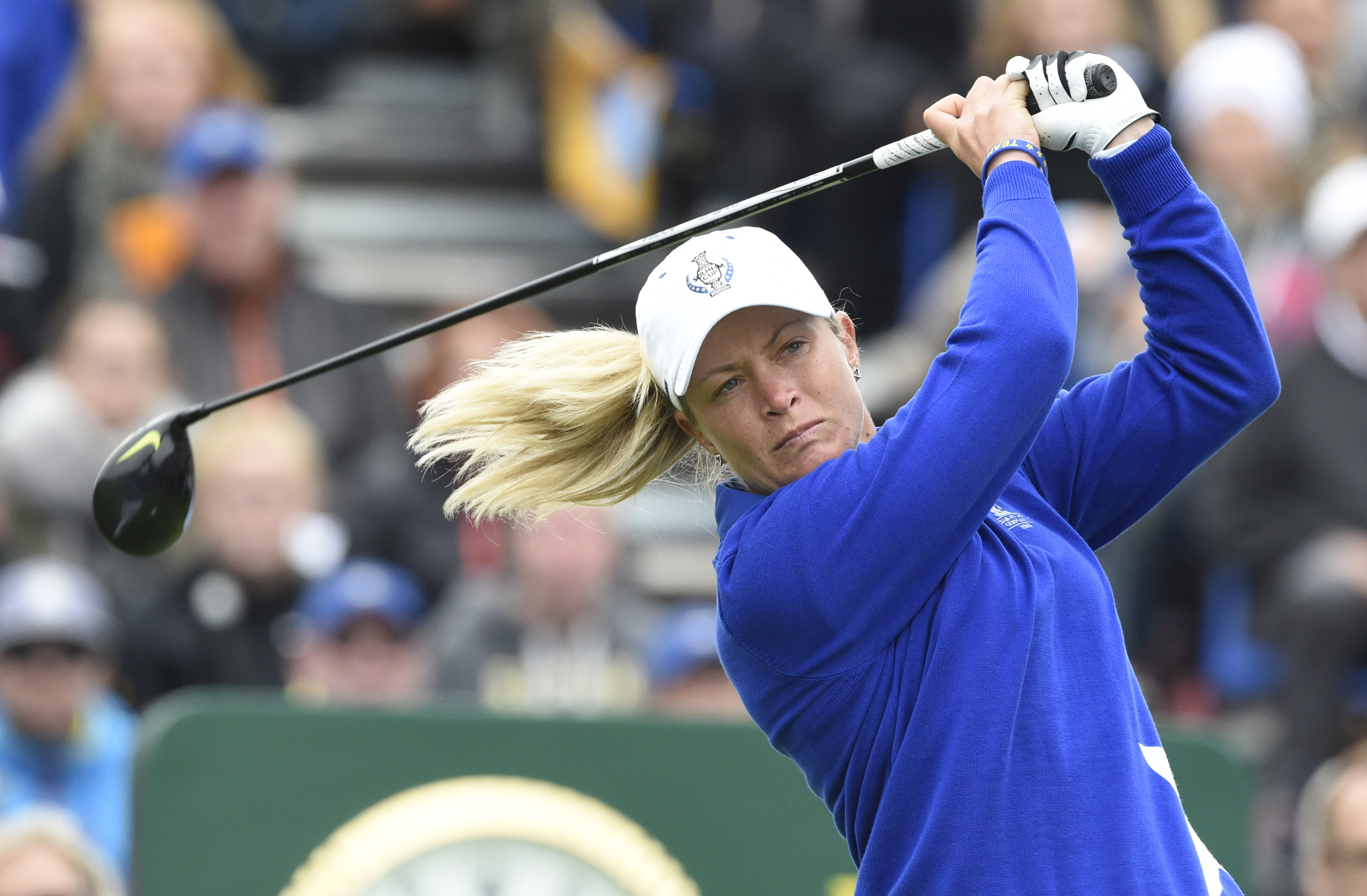 Europe's Suzann Pettersen of Norway tees off in the singles matches on Day3 of the Golf Solheim Cup in St.Leon-Rot, Germany, Sunday, Sept. 20, 2015. (AP Photo/Jens Meyer)