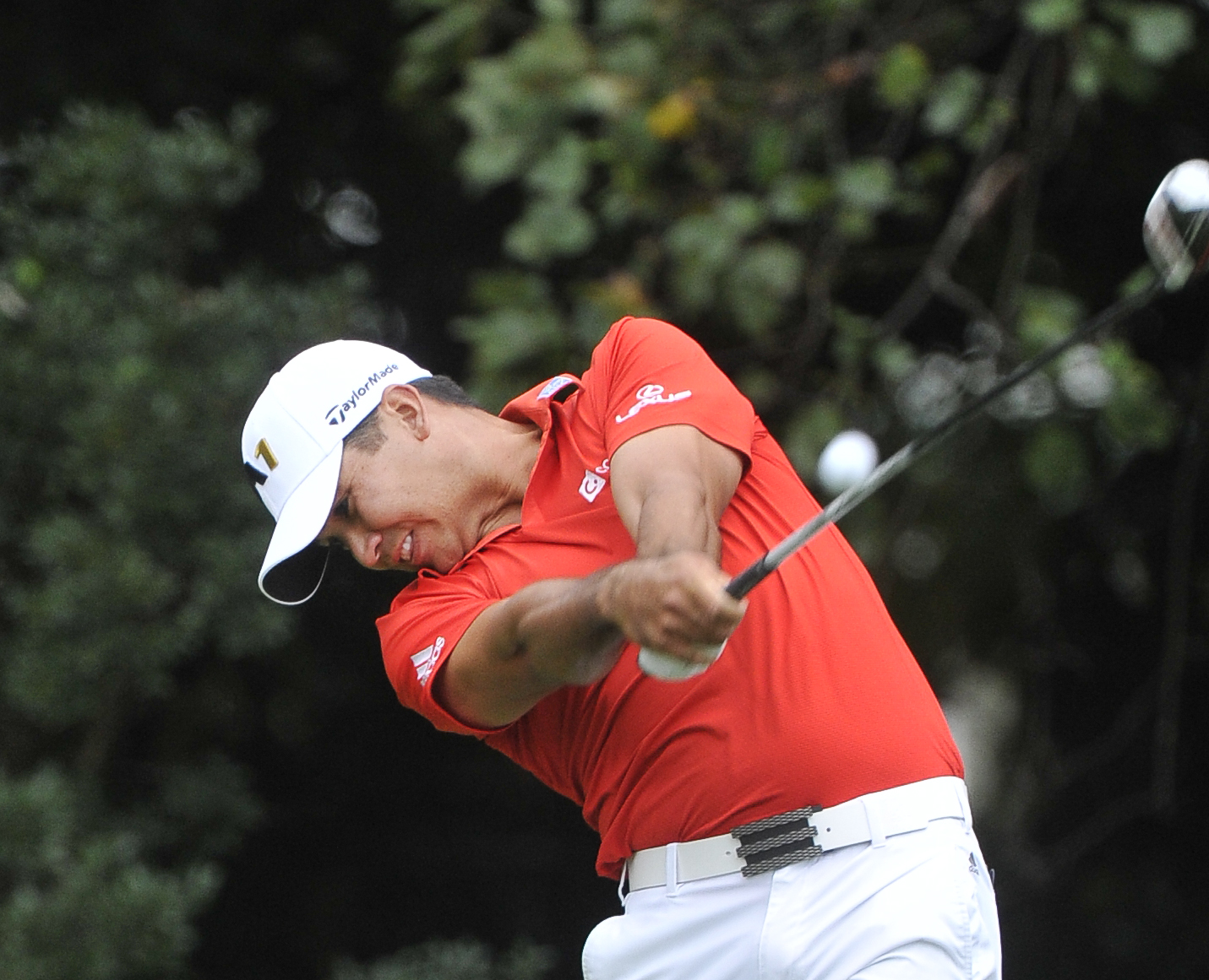 Jason Day hits from the tee on the eighth hole during the first round of the Tour Championship golf tournament at East Lake Club Thursday, Sept. 24, 2015, in Atlanta. (AP Photo/John Amis)
