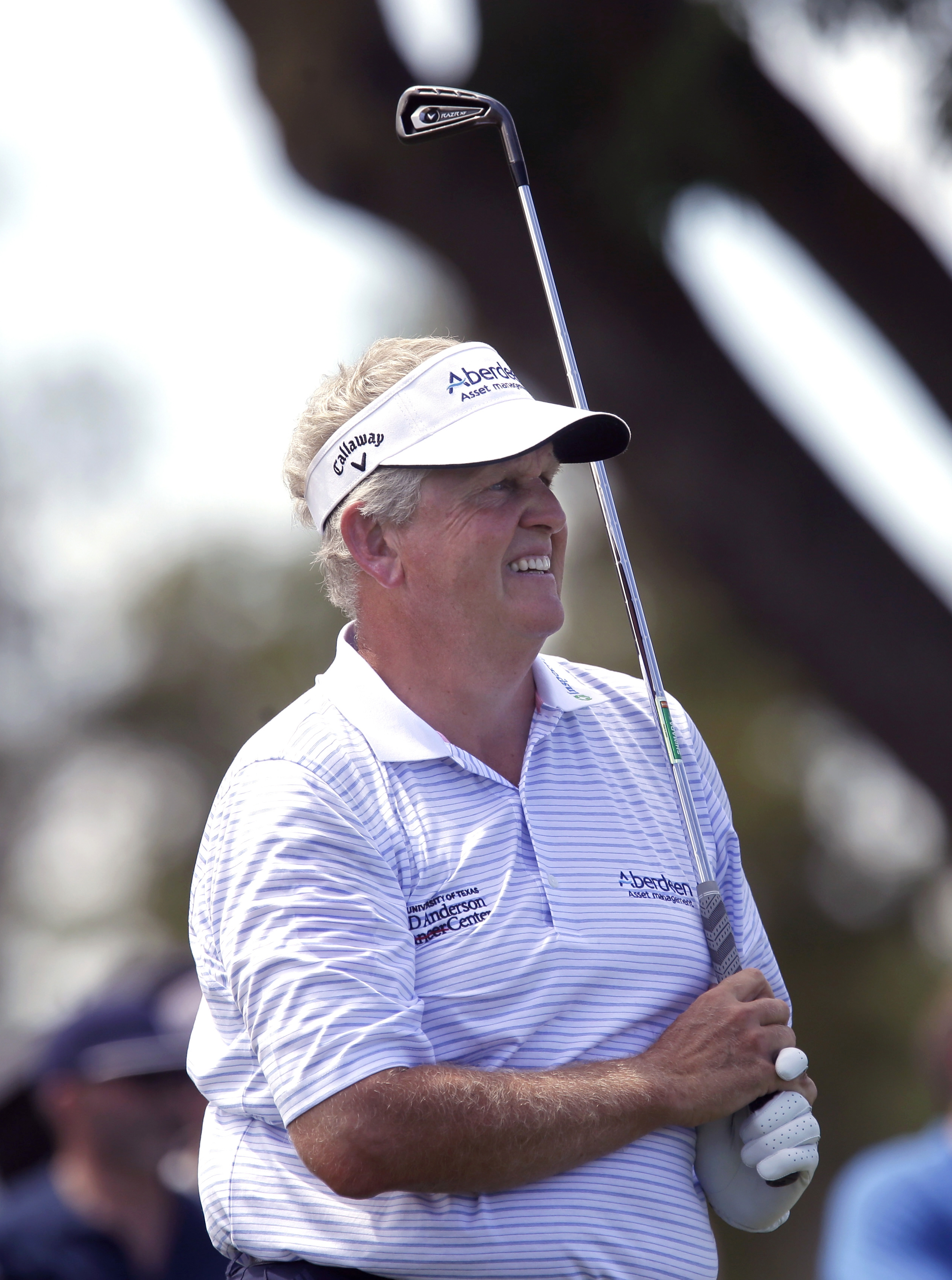 Colin Montgomerie, of Scotland, watches his shot in the final round of the U.S. Senior Open golf tournament at the Del Paso Country Club in Sacramento, Calif., Sunday, June 28, 2015.(AP Photo/Rich Pedroncelli)