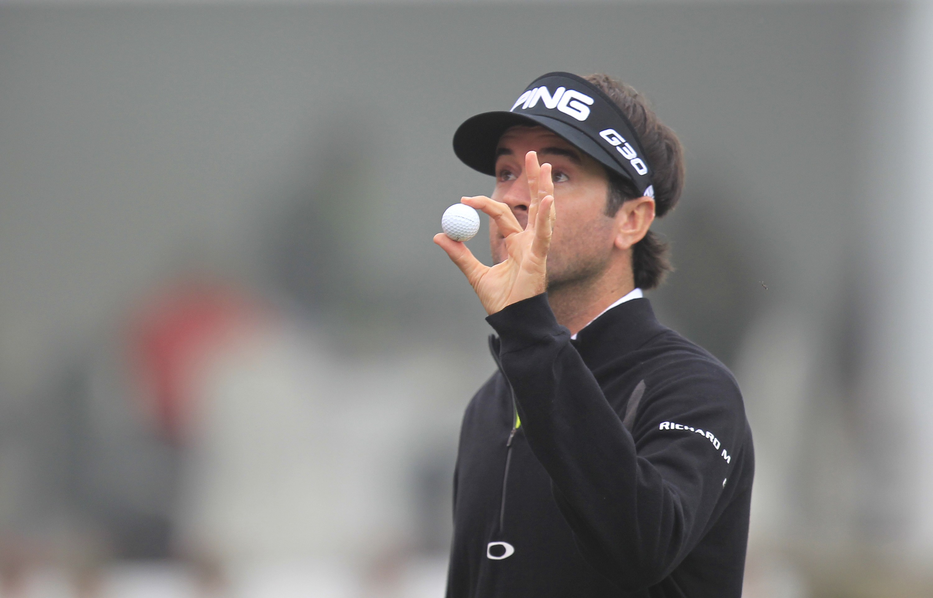 Bubba Watson of the United States greets spectators on the 18th hole after the final round of the HSBC Champions golf tournament at the Sheshan International Golf Club in Shanghai, China Sunday, Nov. 8, 2015. (AP Photo)