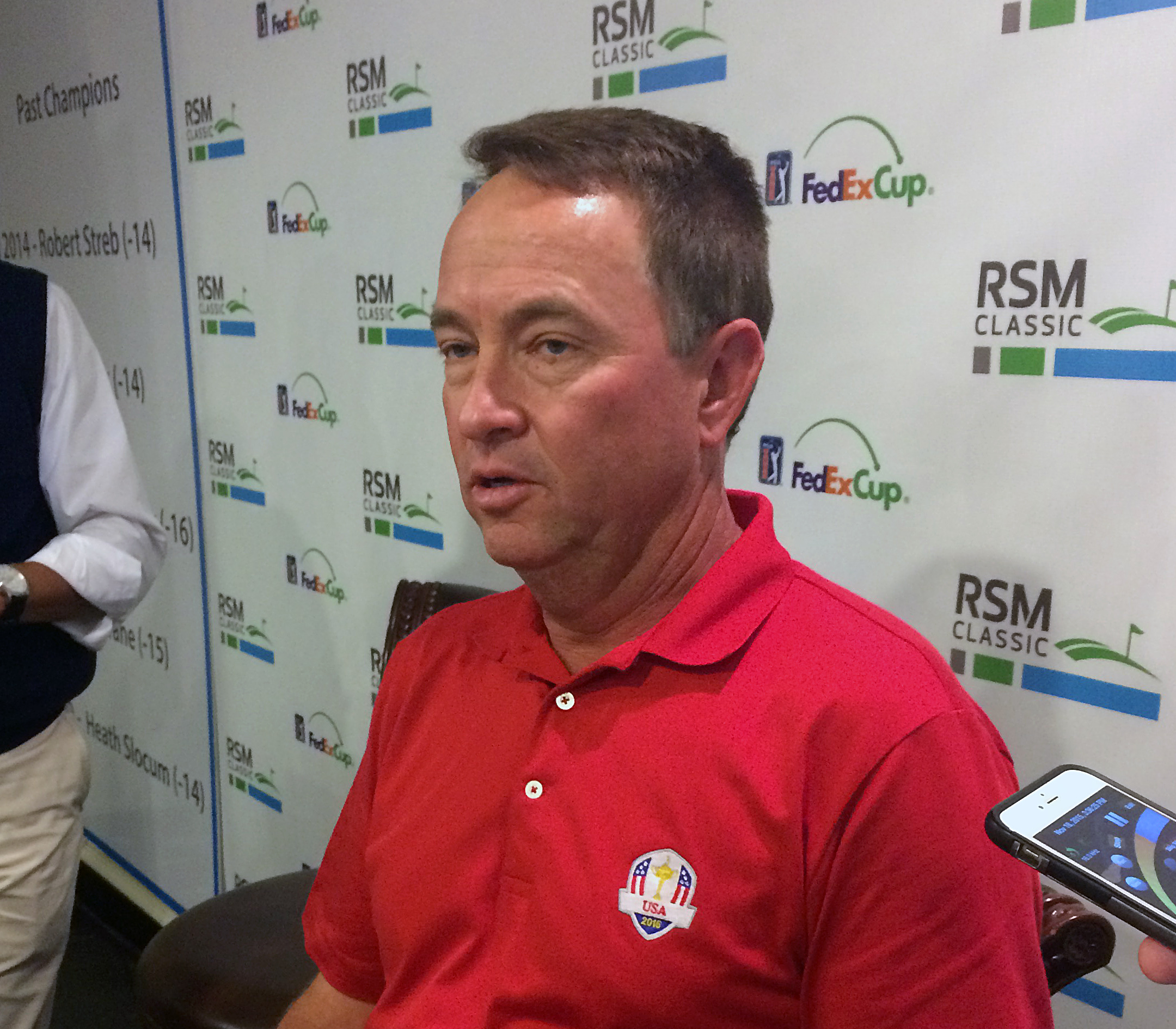 U.S. Davis Cup captian Davis love III talks to reporters at St. Simons Island, Ga., Wednesday, Nov. 18, 2015. Love said that Tiger Woods, Jim Furyk and Steve Stricker will be vice captains for the 2016 matches in Minnesota. (AP Photo/Doug Ferguson)