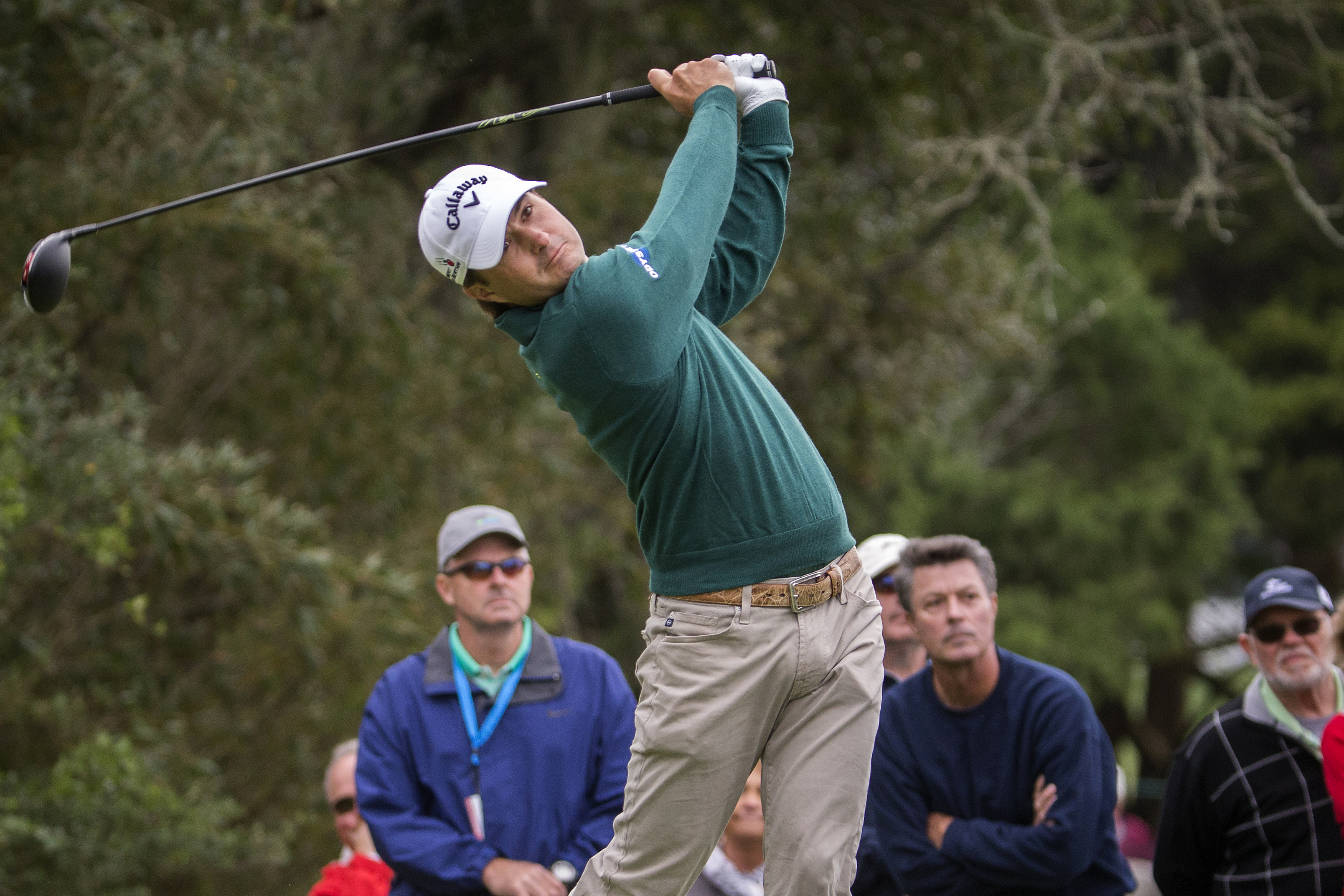 Kevin Kisner watches his drive off the second tee during the final round at the RSM Classic golf tournament, Sunday, Nov. 22, 2015, in St. Simons Island, Ga. (AP Photo/Stephen B. Morton)