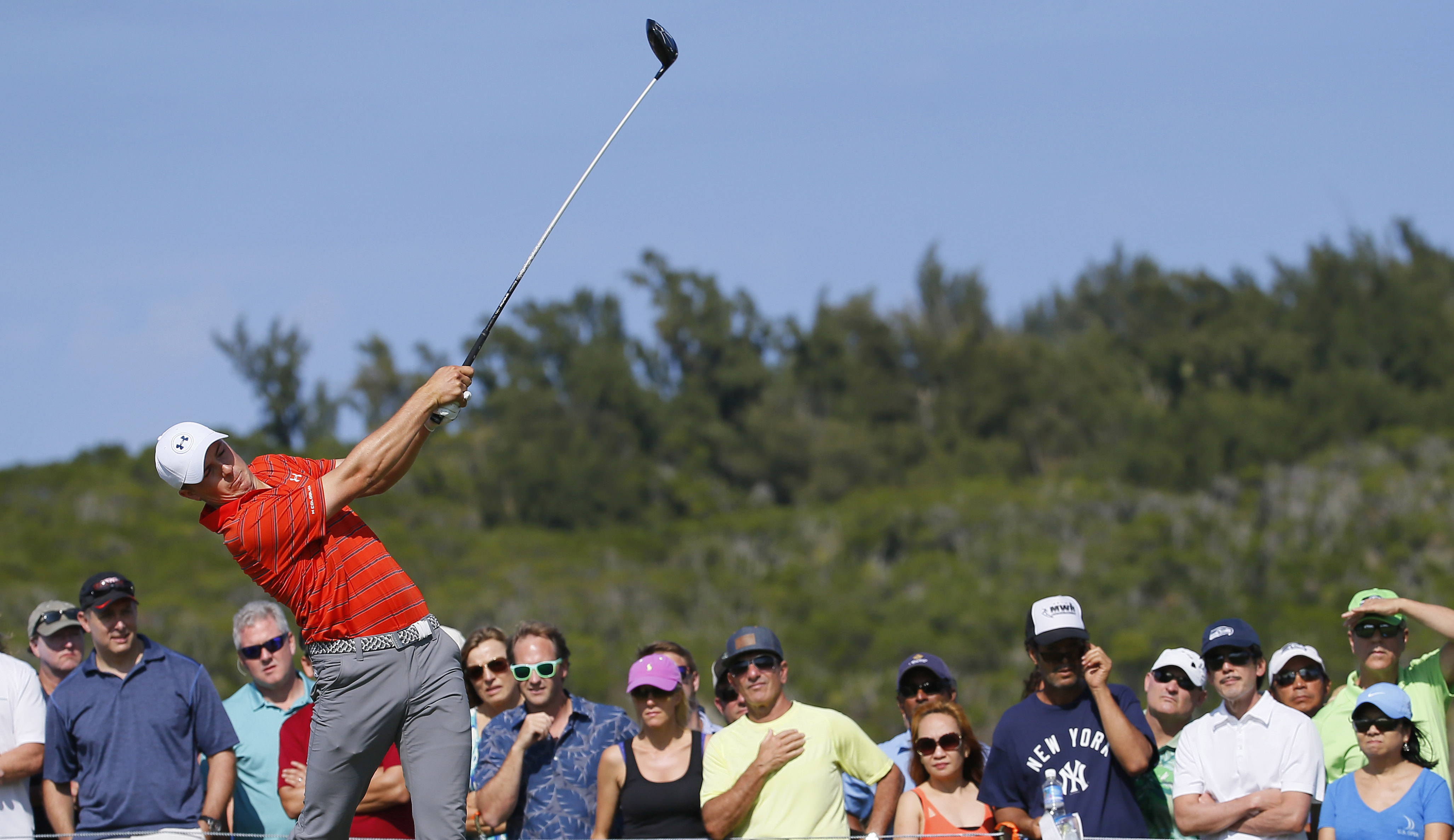 Jordan Spieth hits from the 14th tee during the third round of the Tournament of Champions golf tournament, Saturday, Jan. 9, 2016, at Kapalua Plantation Course on Kapalua, Hawaii. (AP Photo/Matt York)