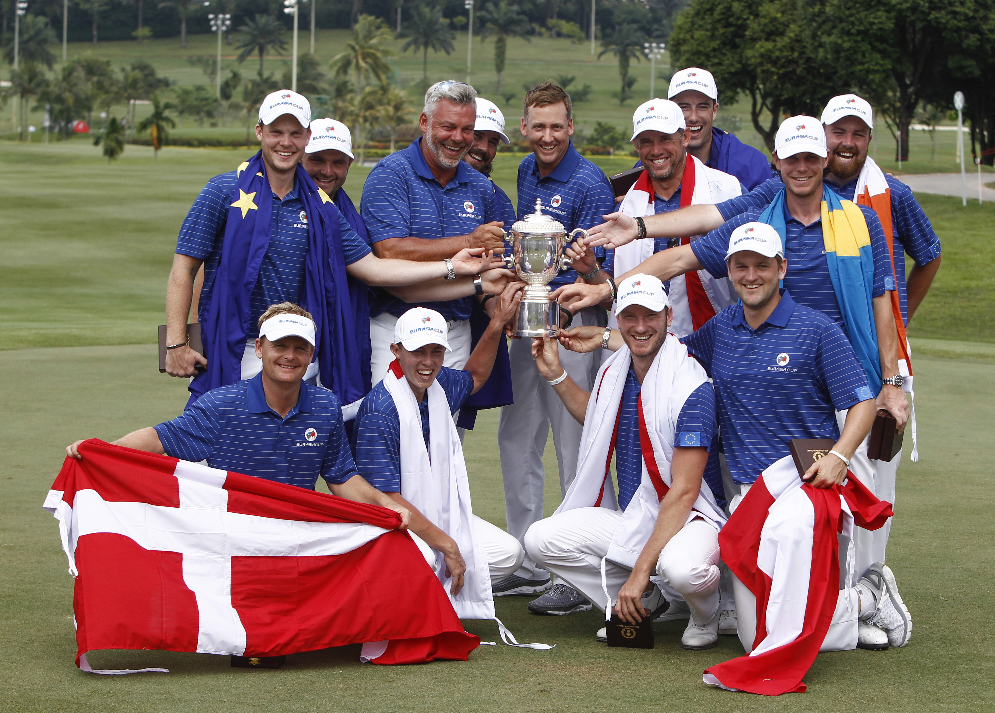 Members of Team Europe, top row left to right, Danny Willet of England, Andy Sullivan of England, Darren Clarke of Northern Ireland, Victor Dubuisson of France, Ian Poulter of England, Lee Westwood of England, Ross Fisher of England, Kristoffer Broberg of