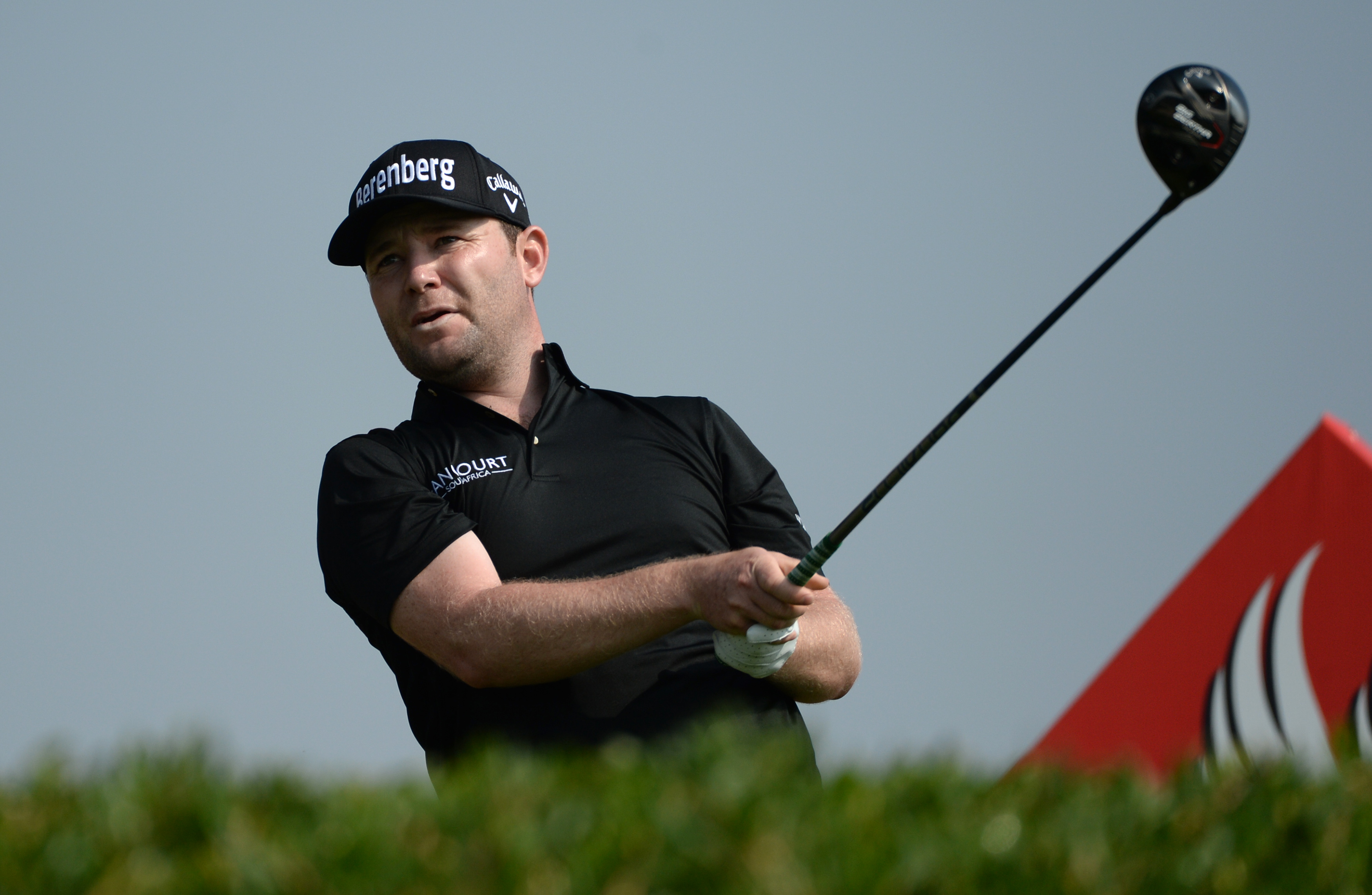 Branden Grace of South Africa watches the ball after the tee off at the 11th hole during the second round of the Abu Dhabi HSBC Golf Championship in Abu Dhabi, United Arab Emirates, Friday, Jan. 22, 2016. (AP Photo/Martin Dokoupil)