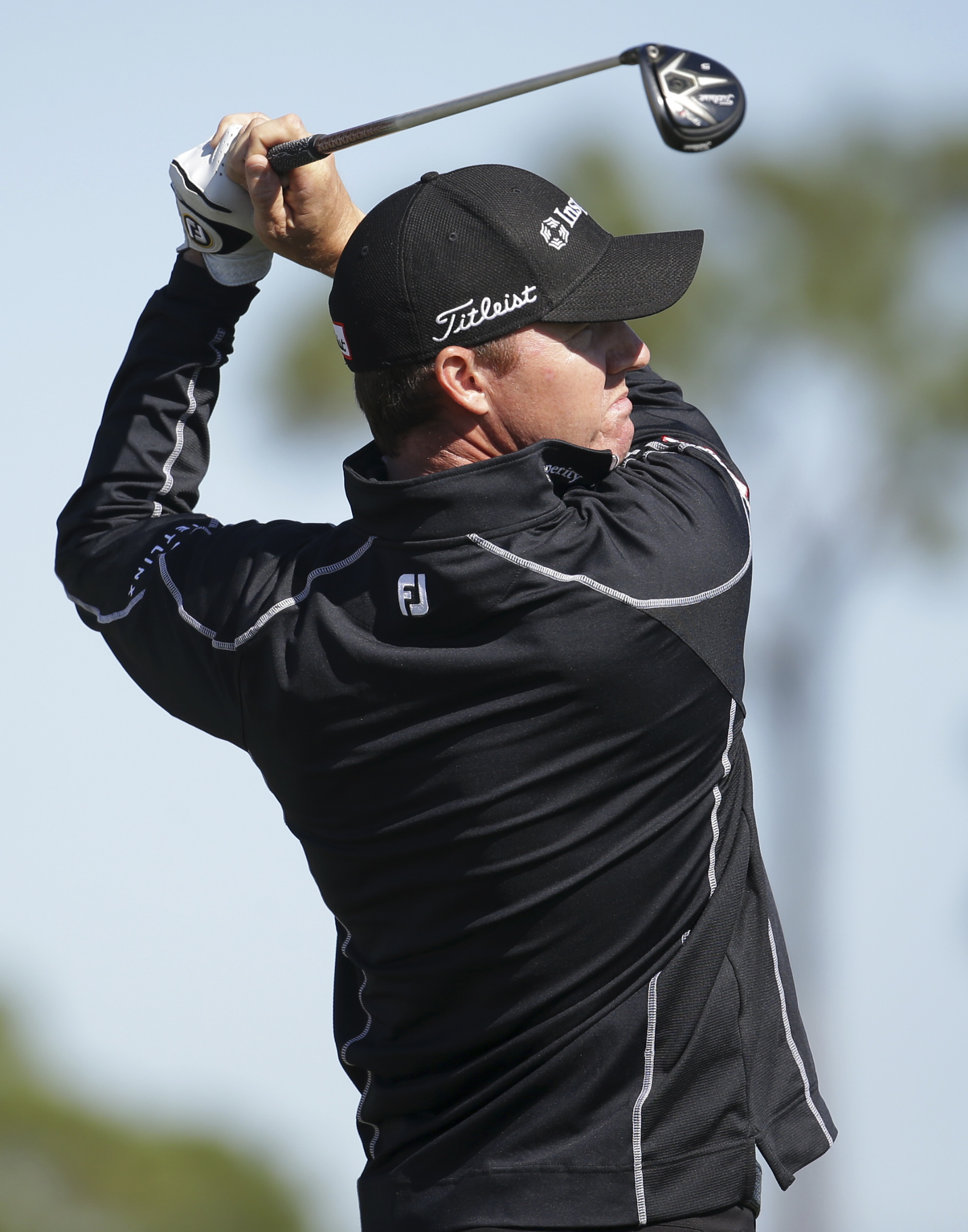 Jimmy Walker tees off on the ninth hole during the second round of the Honda Classic golf tournament, Friday, Feb. 26, 2016, in Palm Beach Gardens, Fla. (AP Photo/Lynne Sladky)