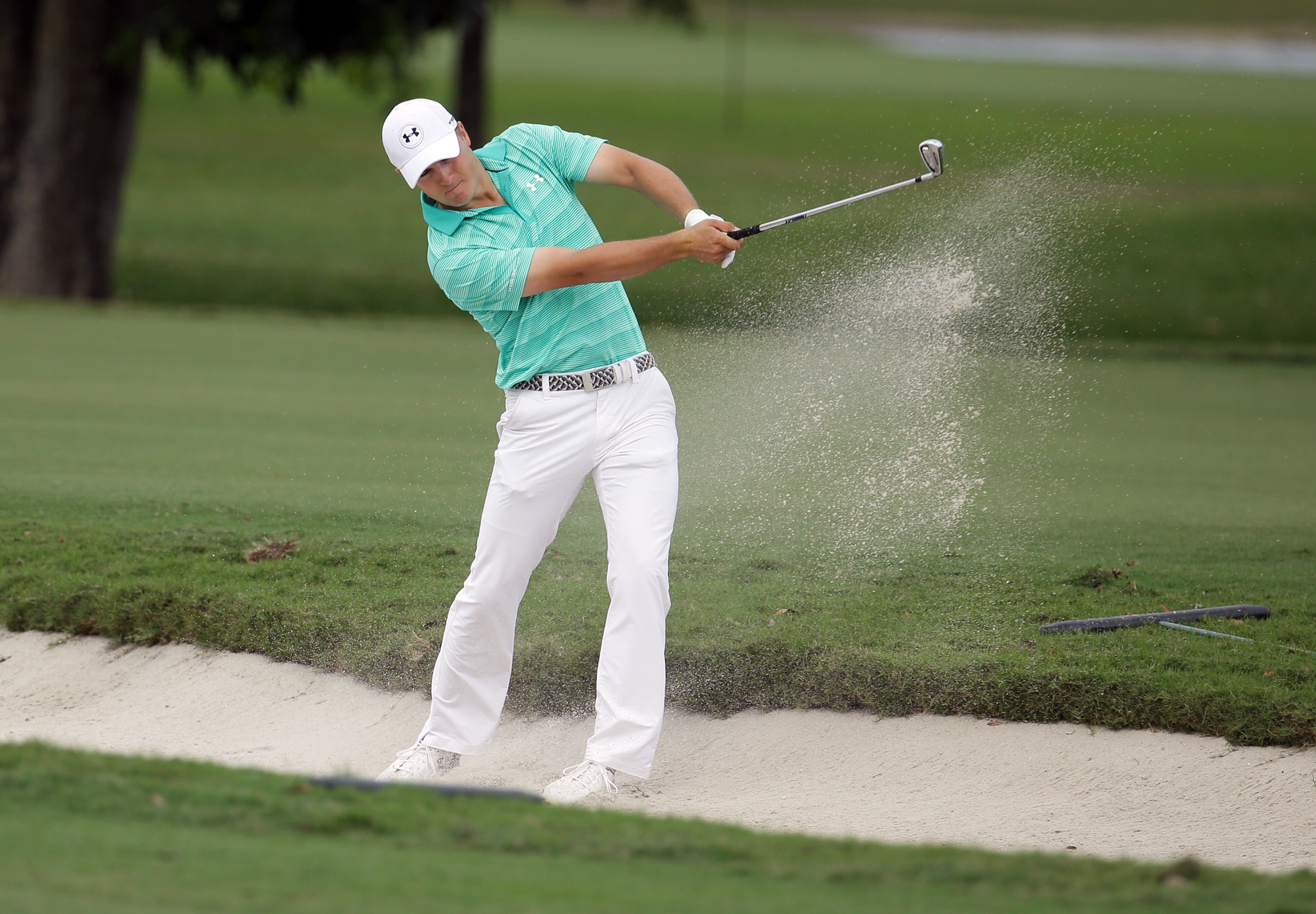 Jordan Spieth hits from the 11th fairway during the first round of the Cadillac Championship golf tournament, Thursday, March 3, 2016 in Doral, Fla. (AP Photo/Lynne Sladky)
