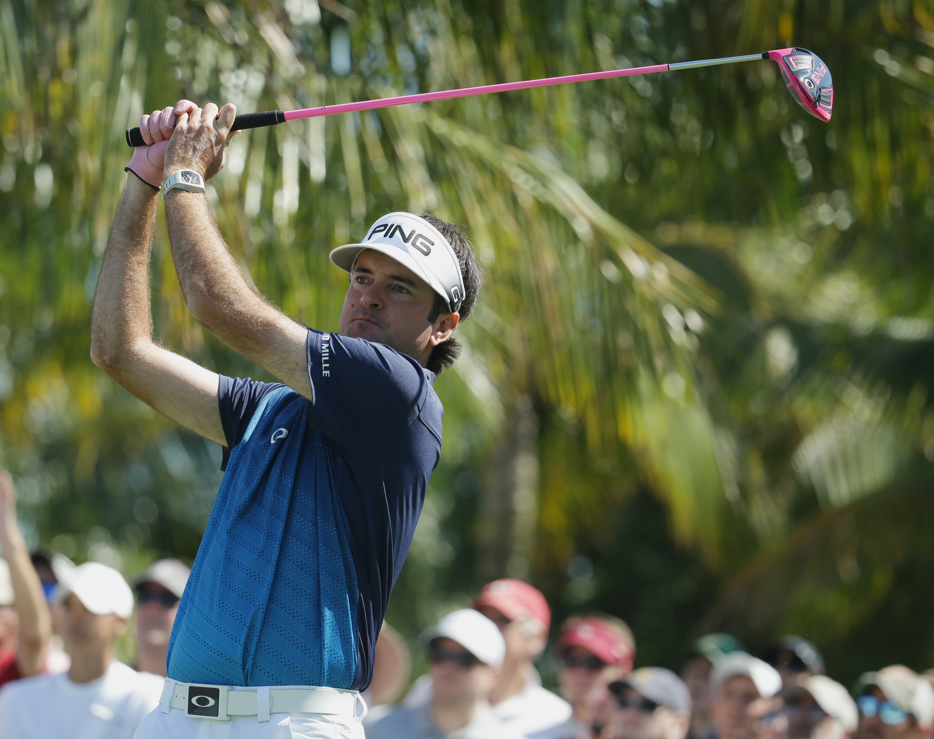 Bubba Watson hits from the second tee during the final round of the Cadillac Championship golf tournament, Sunday, March 6, 2016, in Doral, Fla. (AP Photo/Lynne Sladky)