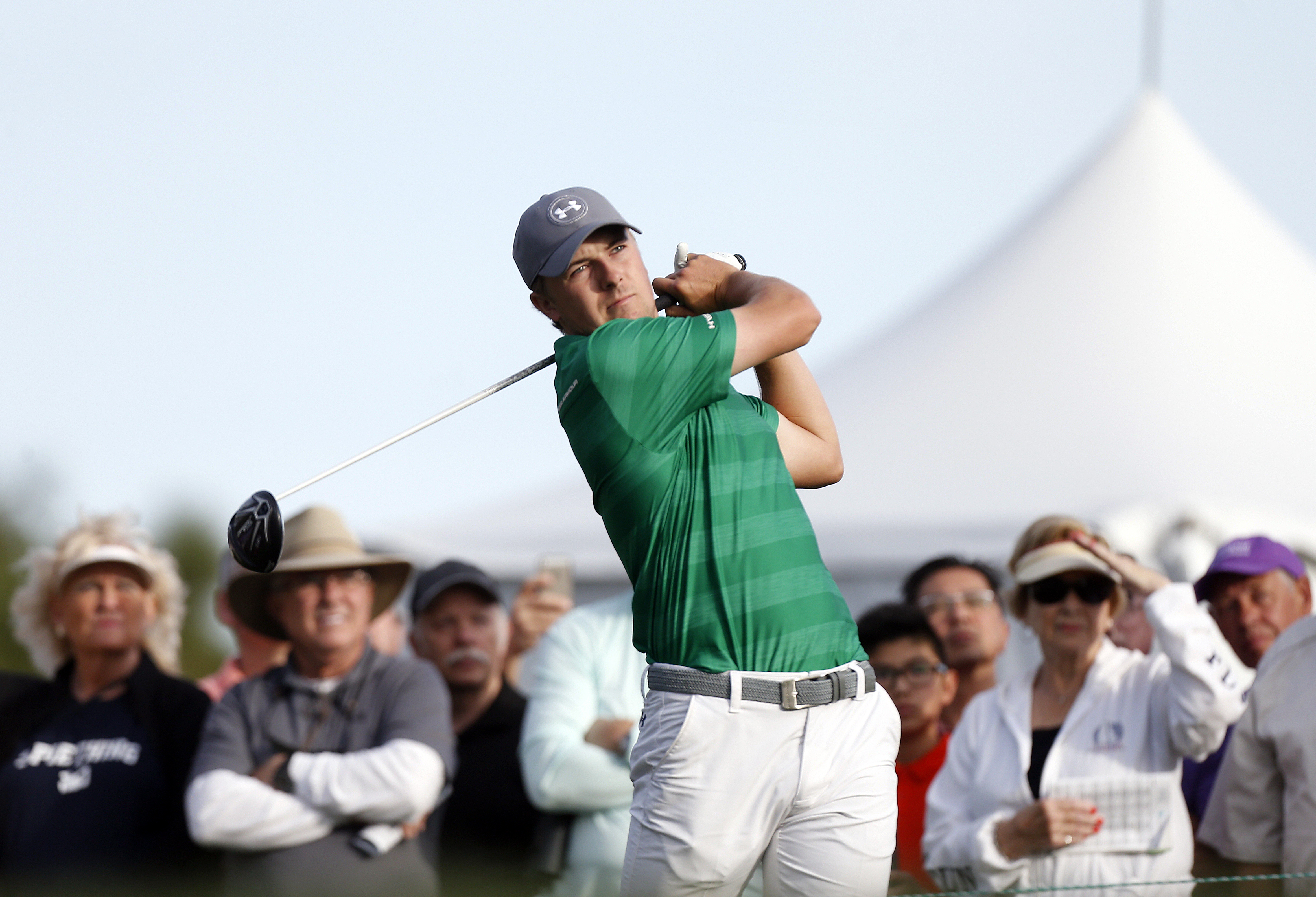Jordan Spieth tees off on the 10th hole during the first round of the Valspar Championship golf tournament Thursday, March 10, 2016, in Palm Harbor, Fla. (AP Photo/Brian Blanco)