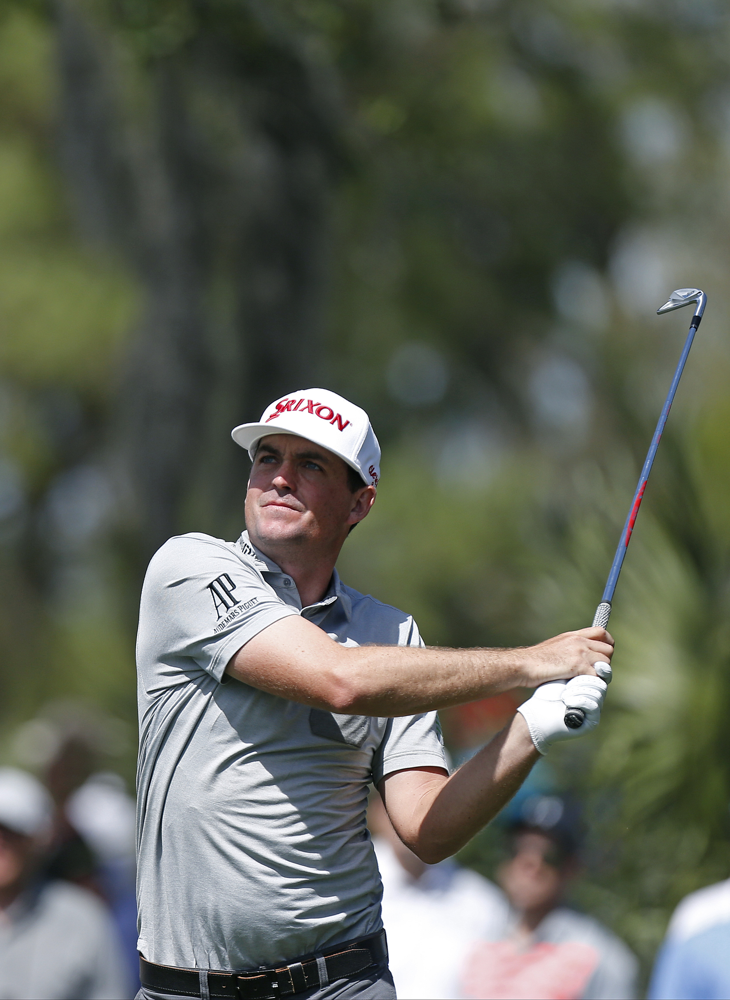 Keegan Bradley hits his tee shot on the eighth hole during the first round of the Valspar Championship golf tournament Thursday, March 10, 2016, in Palm Harbor, Fla. (AP Photo/Brian Blanco)