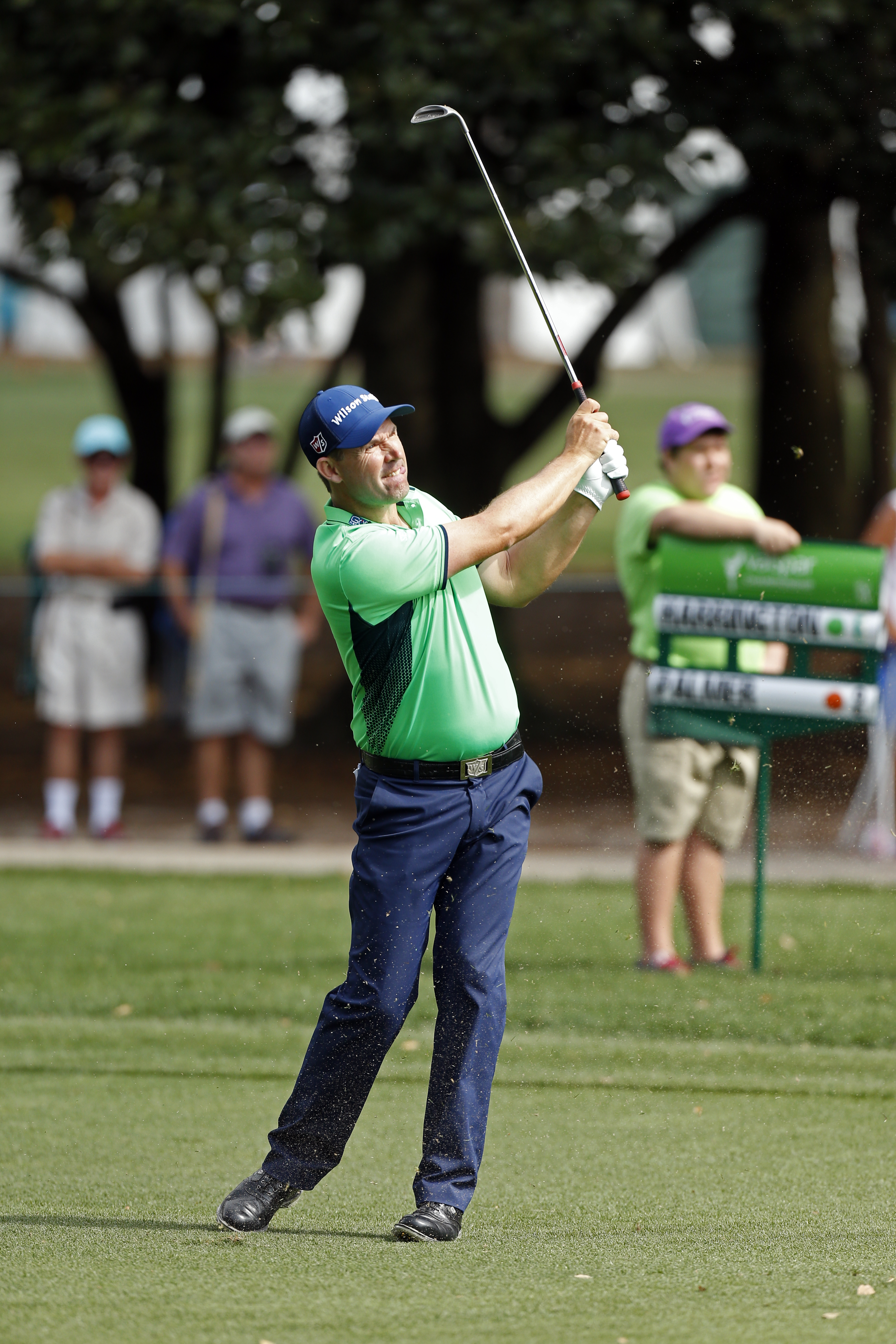 Padraig Harrington, of Ireland, hits a fairway shot on the 10th hole during the third round of the Valspar Championship golf tournament Saturday, March 12, 2016, in Palm Harbor, Fla. (AP Photo/Brian Blanco)